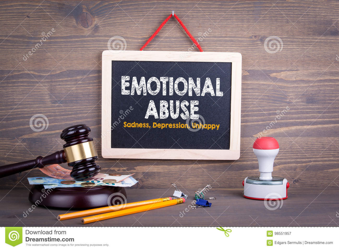 Emotional Abuse concept. Sadness Depression Unhappy. Chalkboard on a wooden background