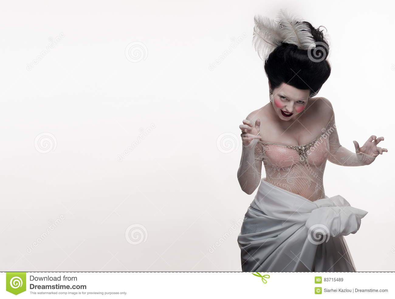 Emotional Brunette Actress Lady With White Feathers Stock Photo