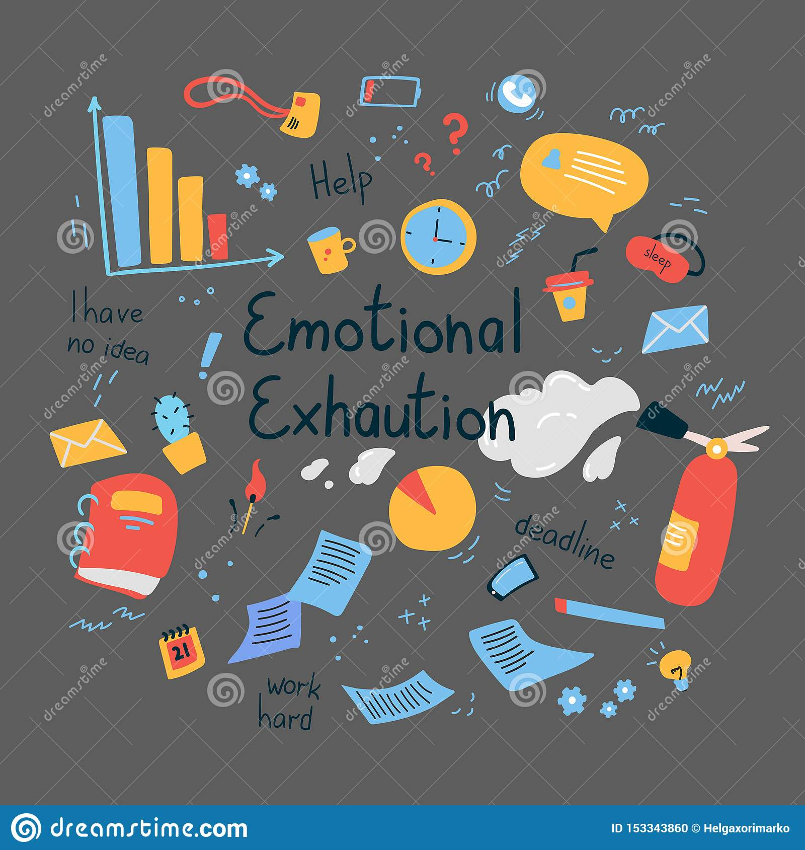 Emotional burning concept.Emotional exhaution text