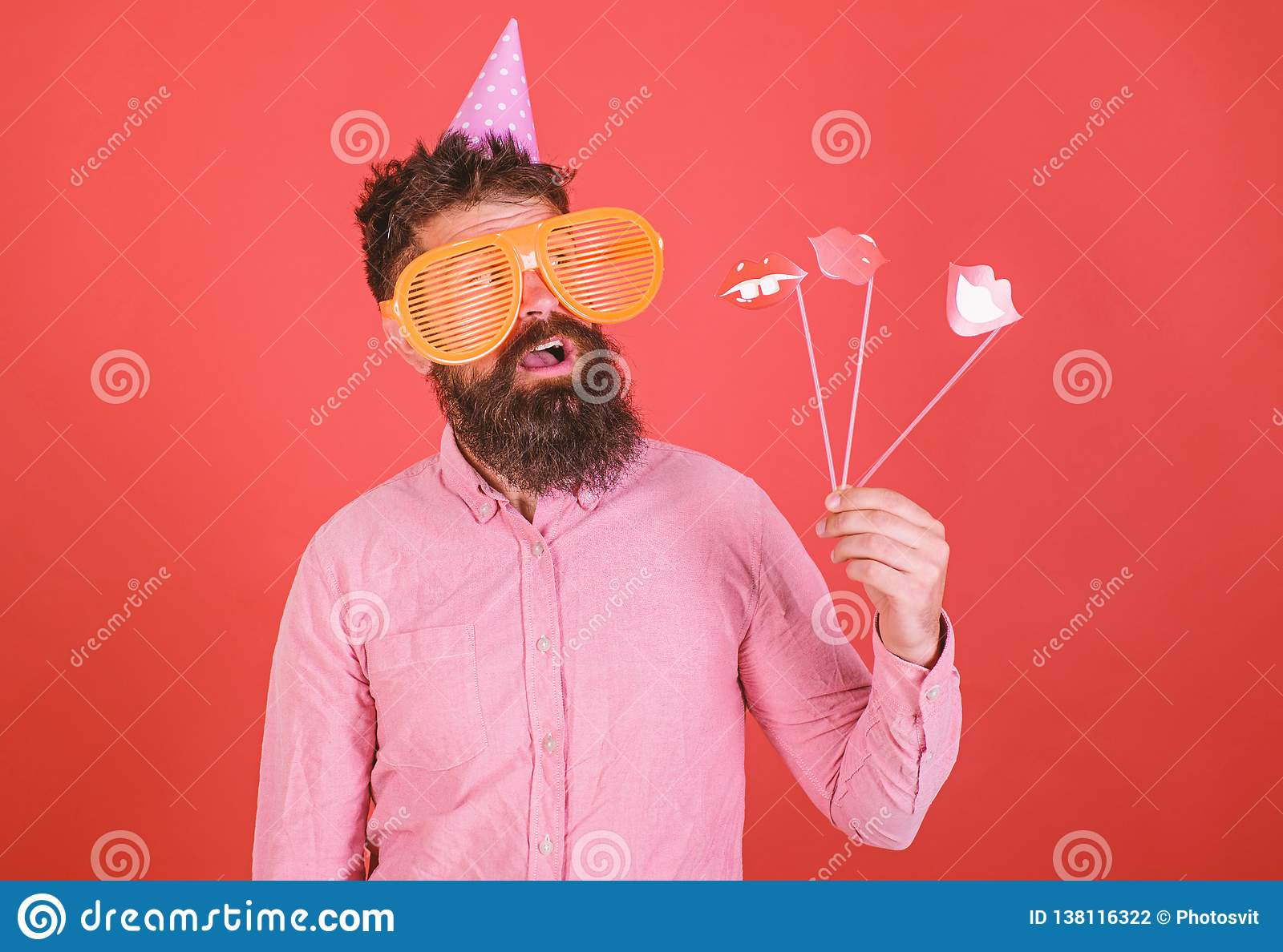 Emotional Diversity Concept  Guy In Party Hat Celebrate, Posing With