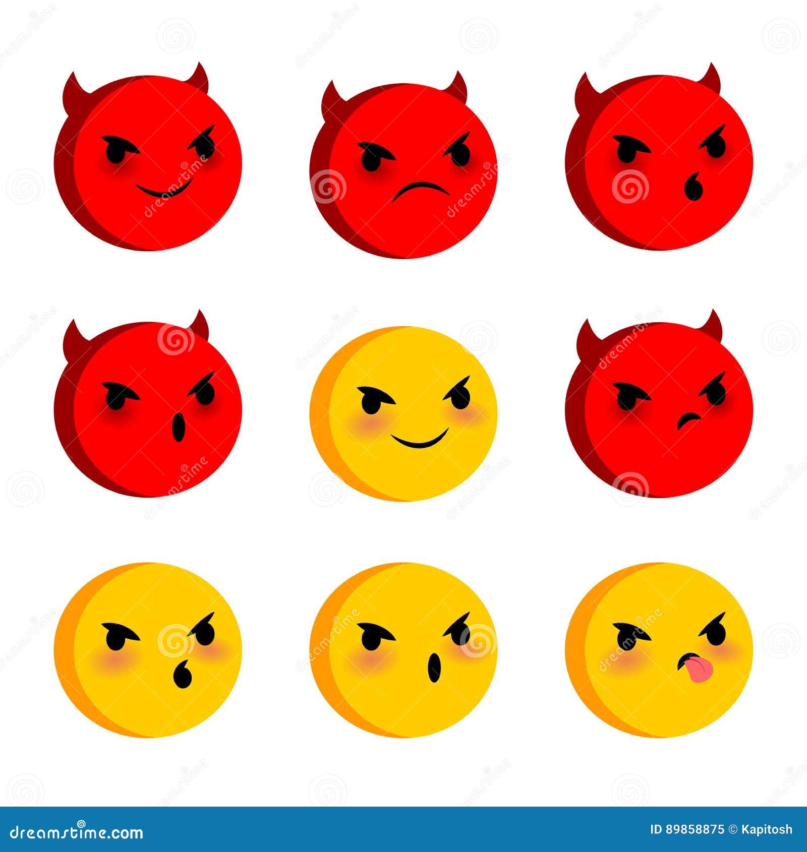 Emotional Faces Evil Devil Smiles Set Stock Vector Illustration Of