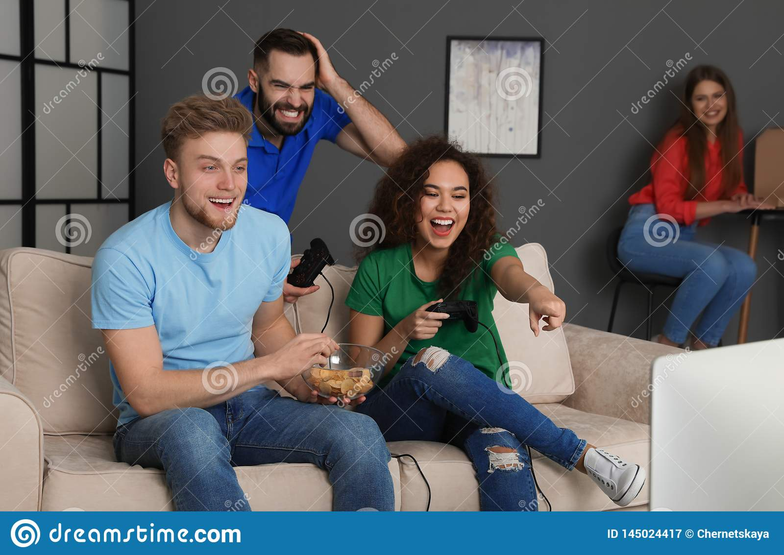 Emotional friends playing video games