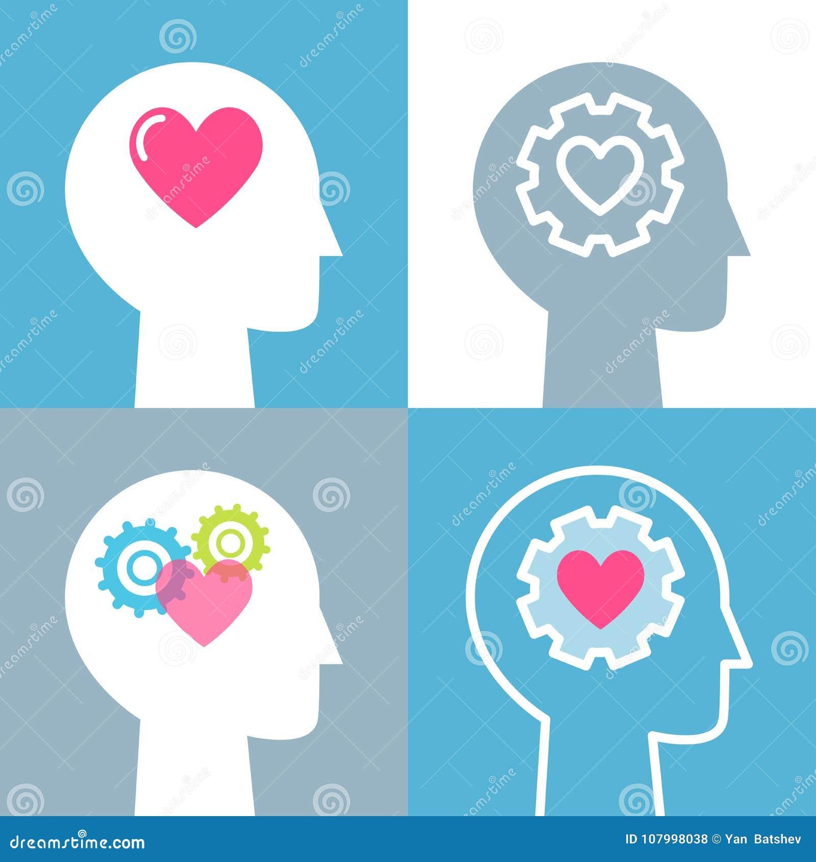 Emotional Intelligence, Feeling and Mental Health Concept Vector Illustrations Set