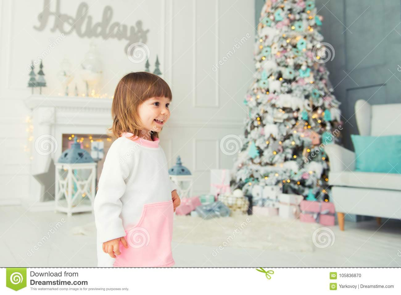 Emotional Little Girl Happy New Year Pleasure Happiness And