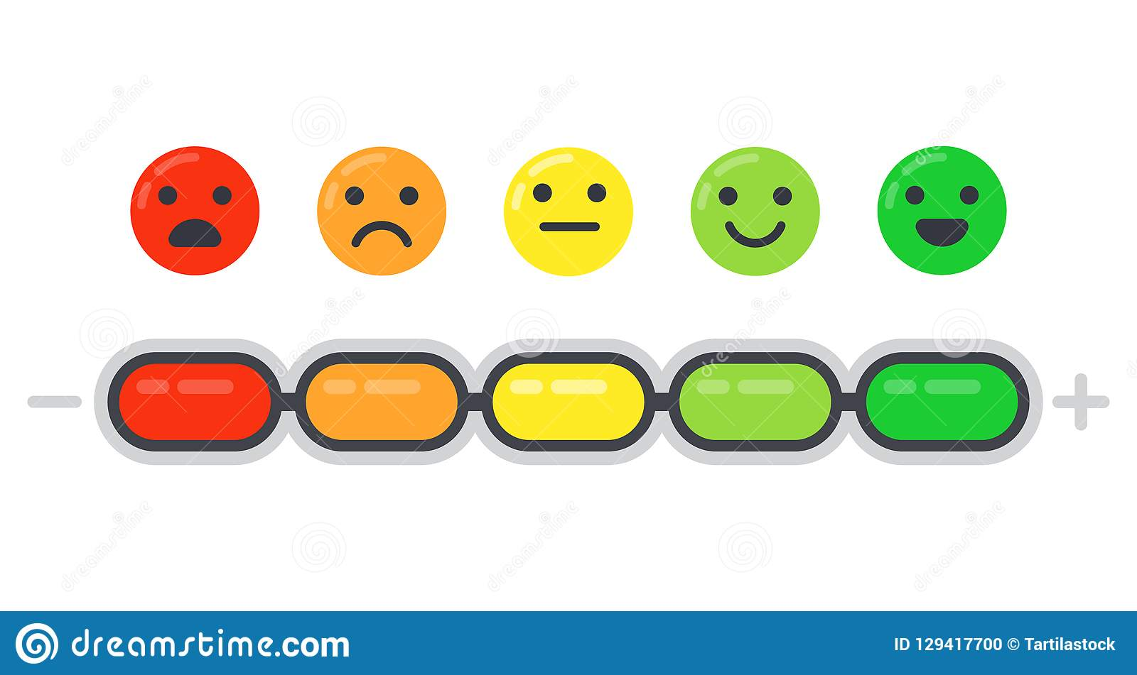 emotional scale  mood indicator  customer satisfaction survey and colored emotions emoji