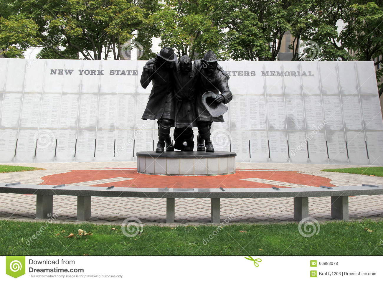 Emotional sculpture of firemen who helped during 9-11 attacks,Empire State Plaza,Albany,New York,2016