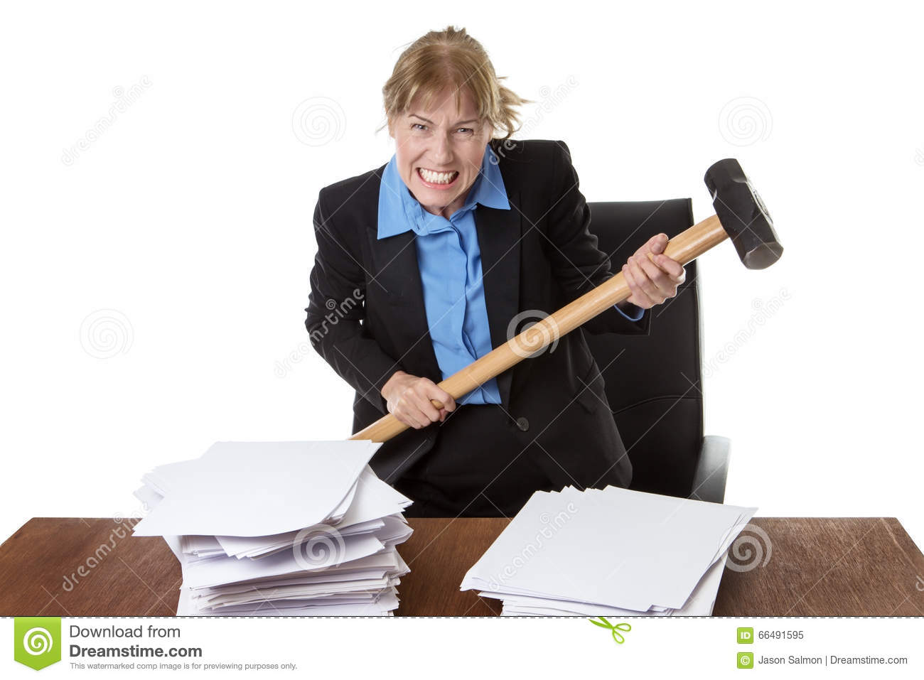 Frustrated office worker on the phone holding stock photo image - Emotional Frustration Hammer Mature Office