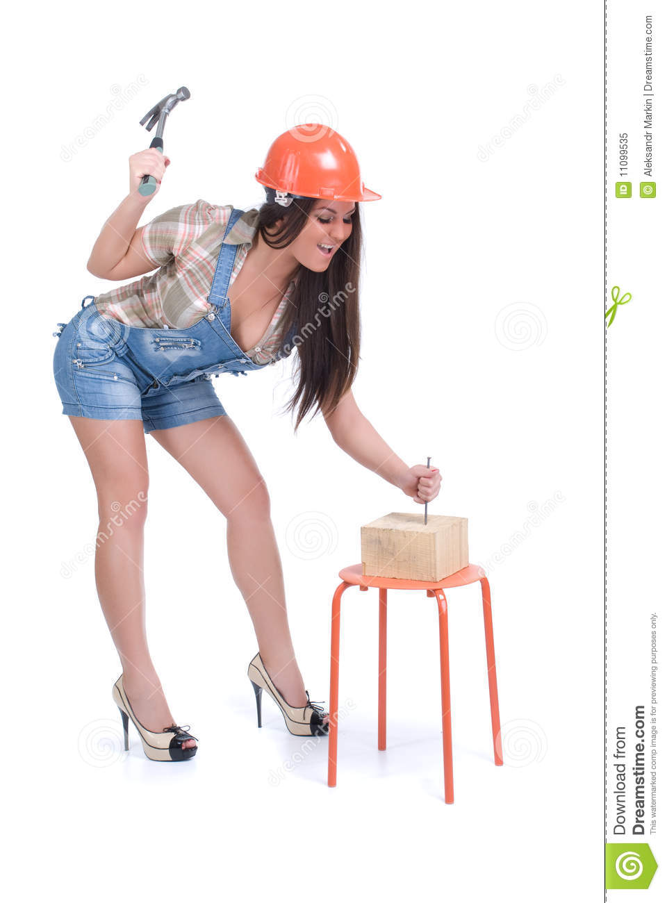 Emotional Woman Hammer In Nail Stock Image Image 11099535