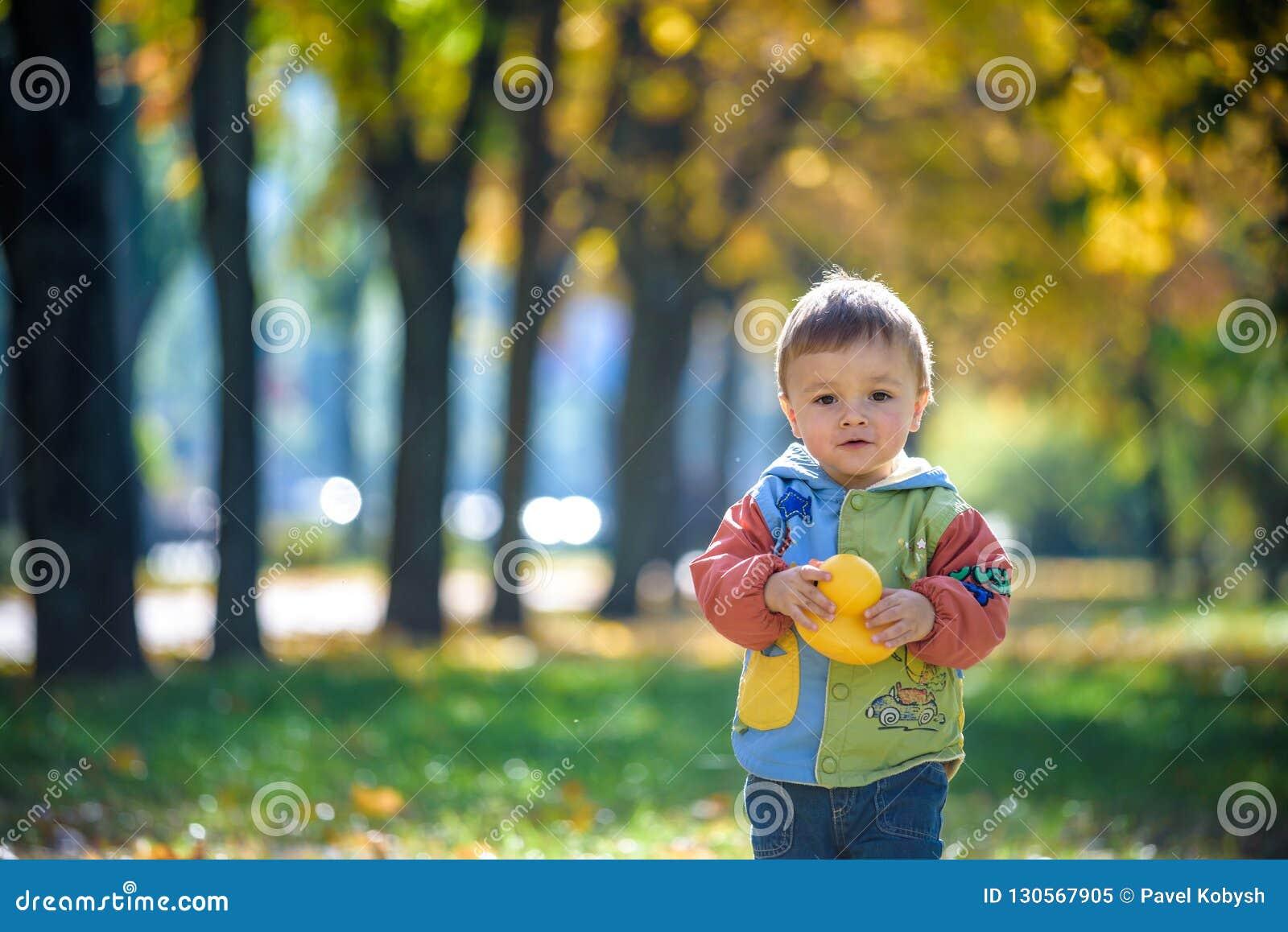 Emotioneel portret van gelukkig en vrolijk weinig jongen het lachen de gele vliegende esdoorn gaat terwijl het lopen in het de he