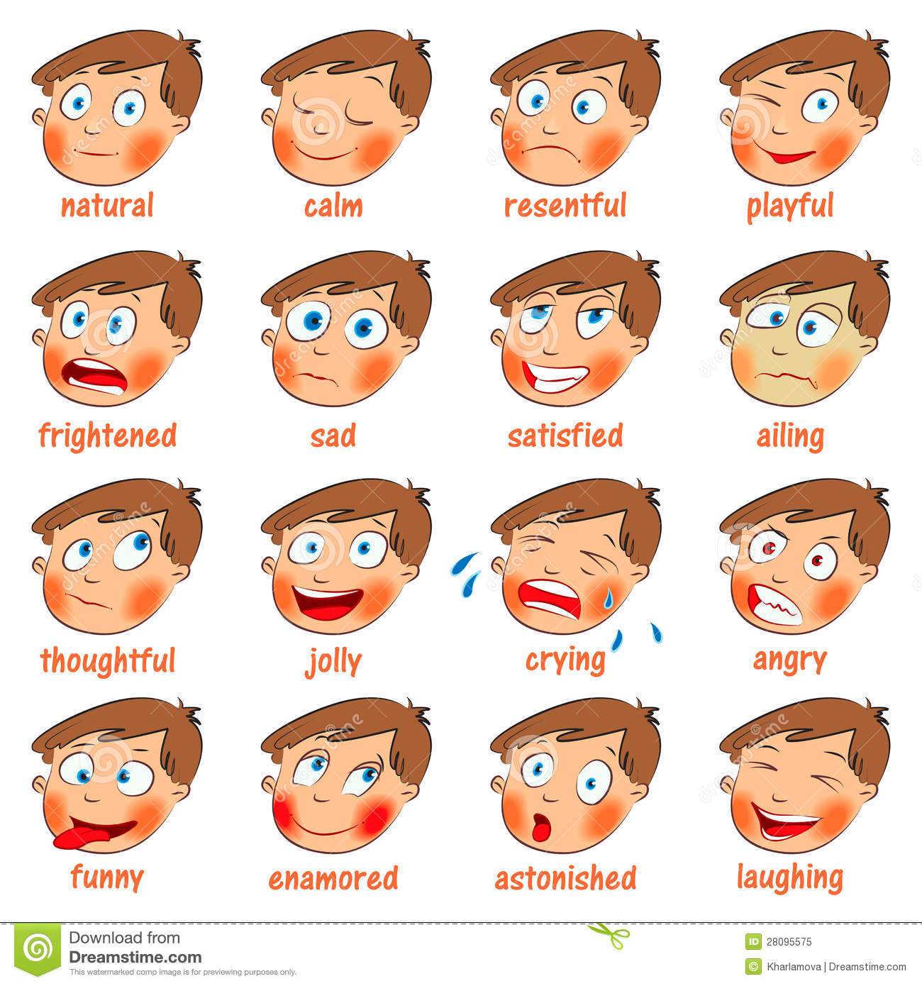 Emotions cartoon facial expressions set hand drawn