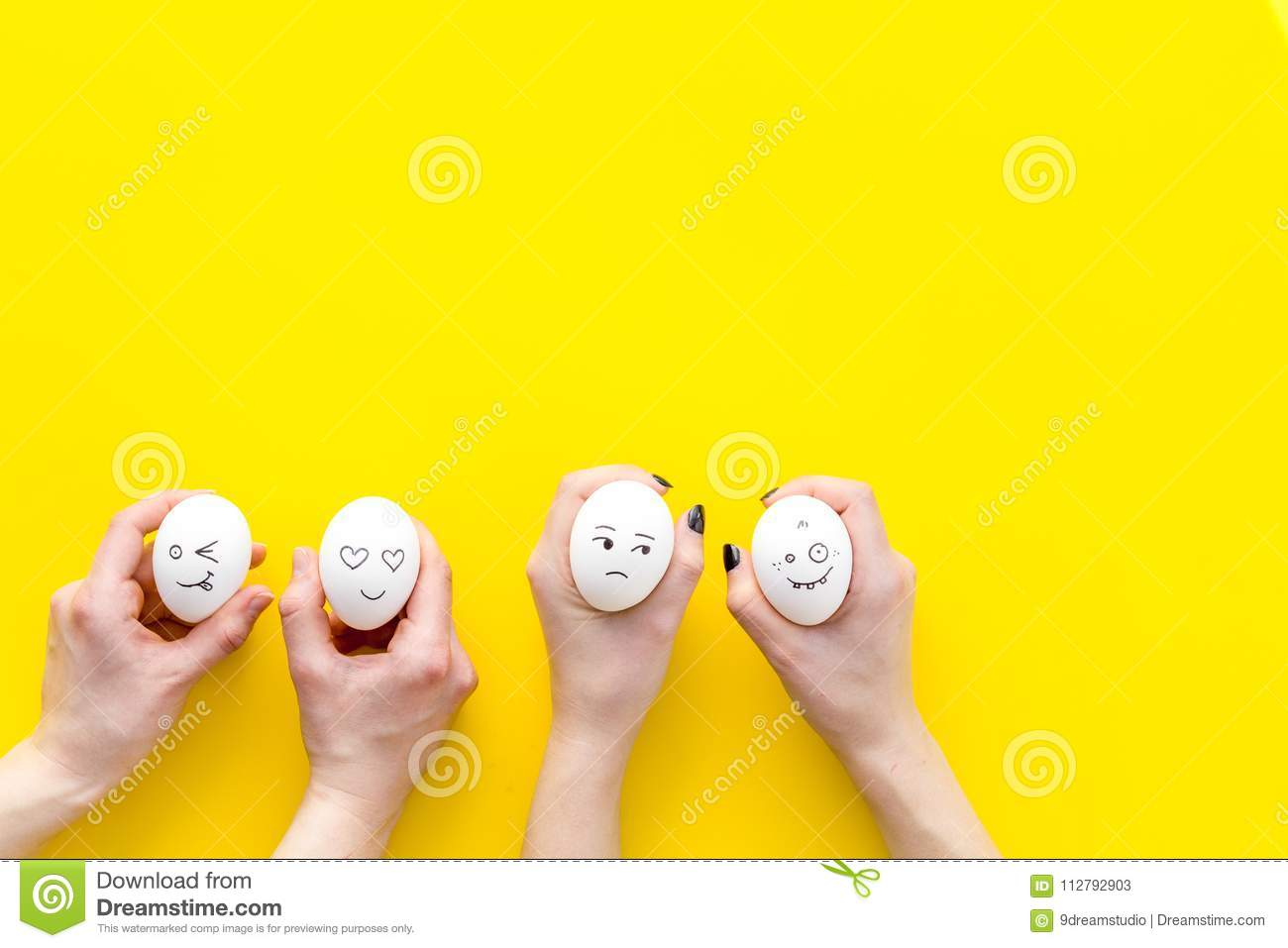 Emotions In Communication At Social Media Faces Drawn On Eggs