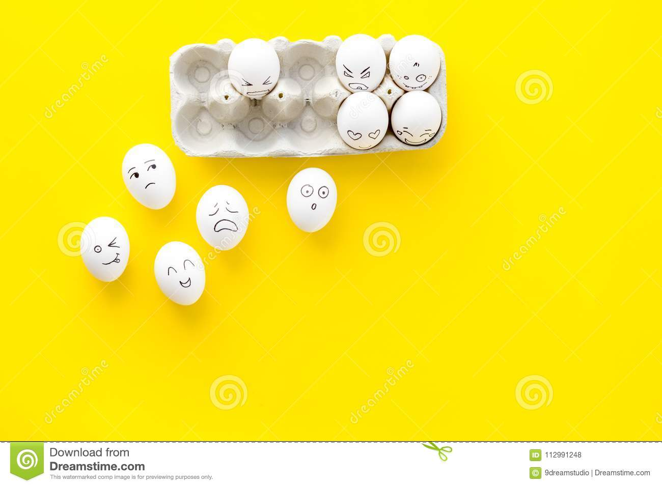 Emotions in communication at social media. Faces drawn on eggs. Happy, smile, sad, angry, in love, saticfied, laughing