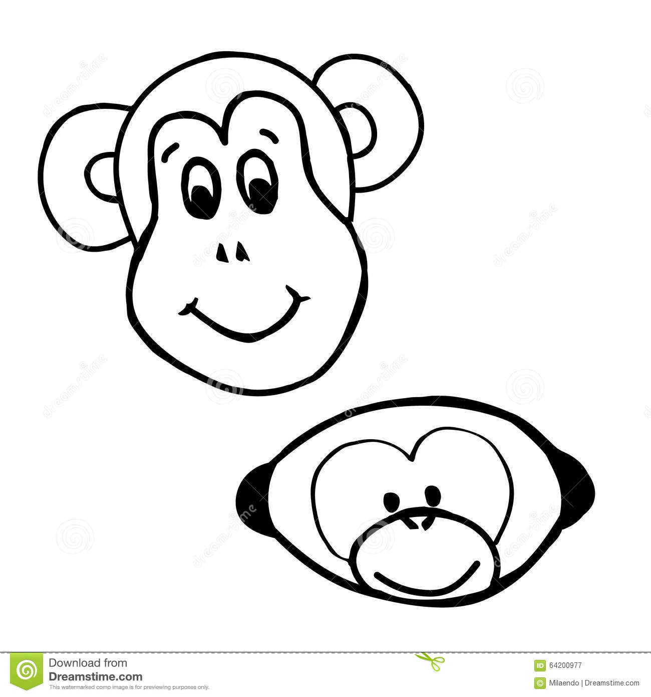 Line Drawing Monkey Face : Emotions monkey smile stock vector image