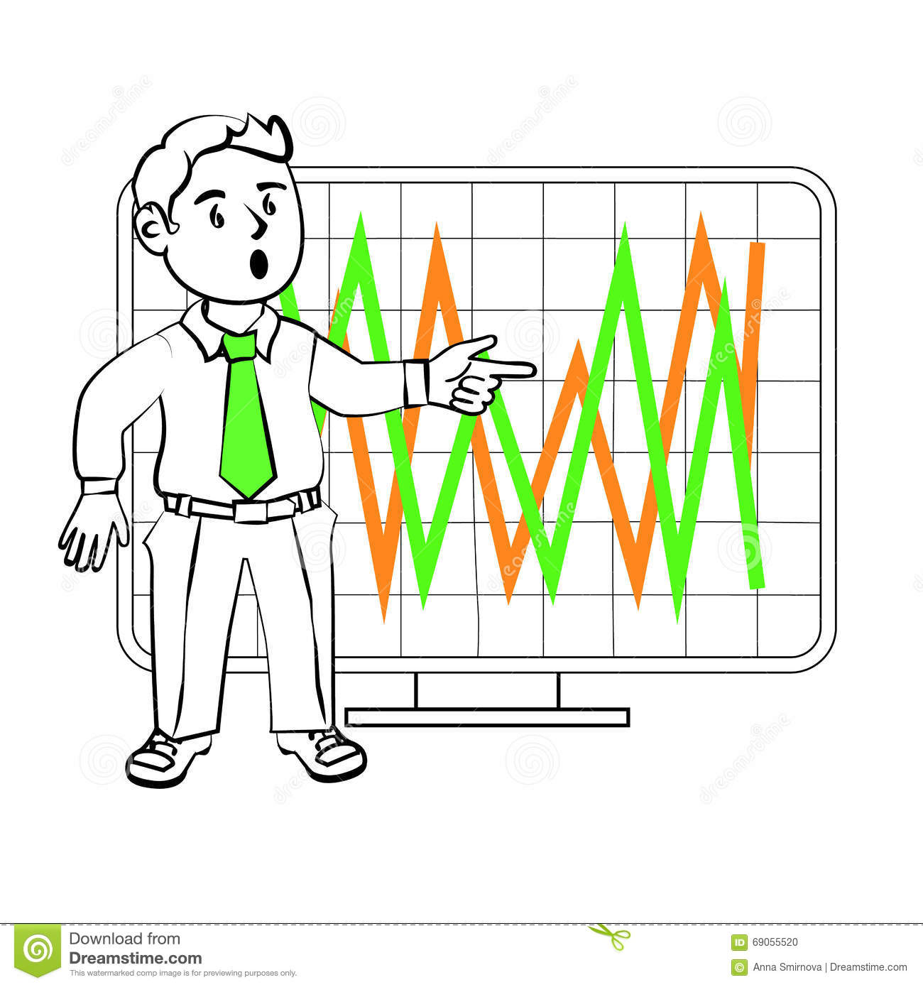 Character Design Presentation : Emotions of a sim trader stock illustration image