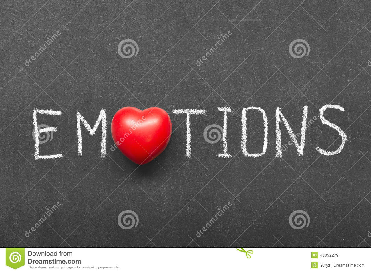 Emotions word handwritten on chalkboard with heart symbol instead of O ...