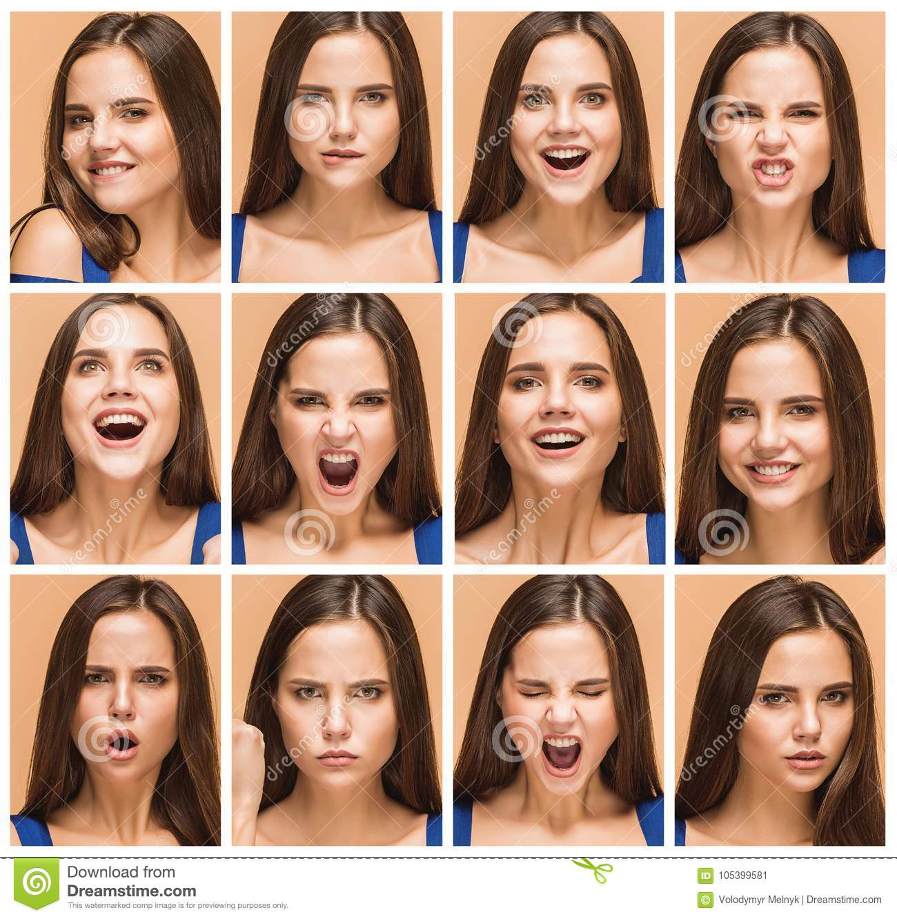 The emotions of young brunette woman. Studio