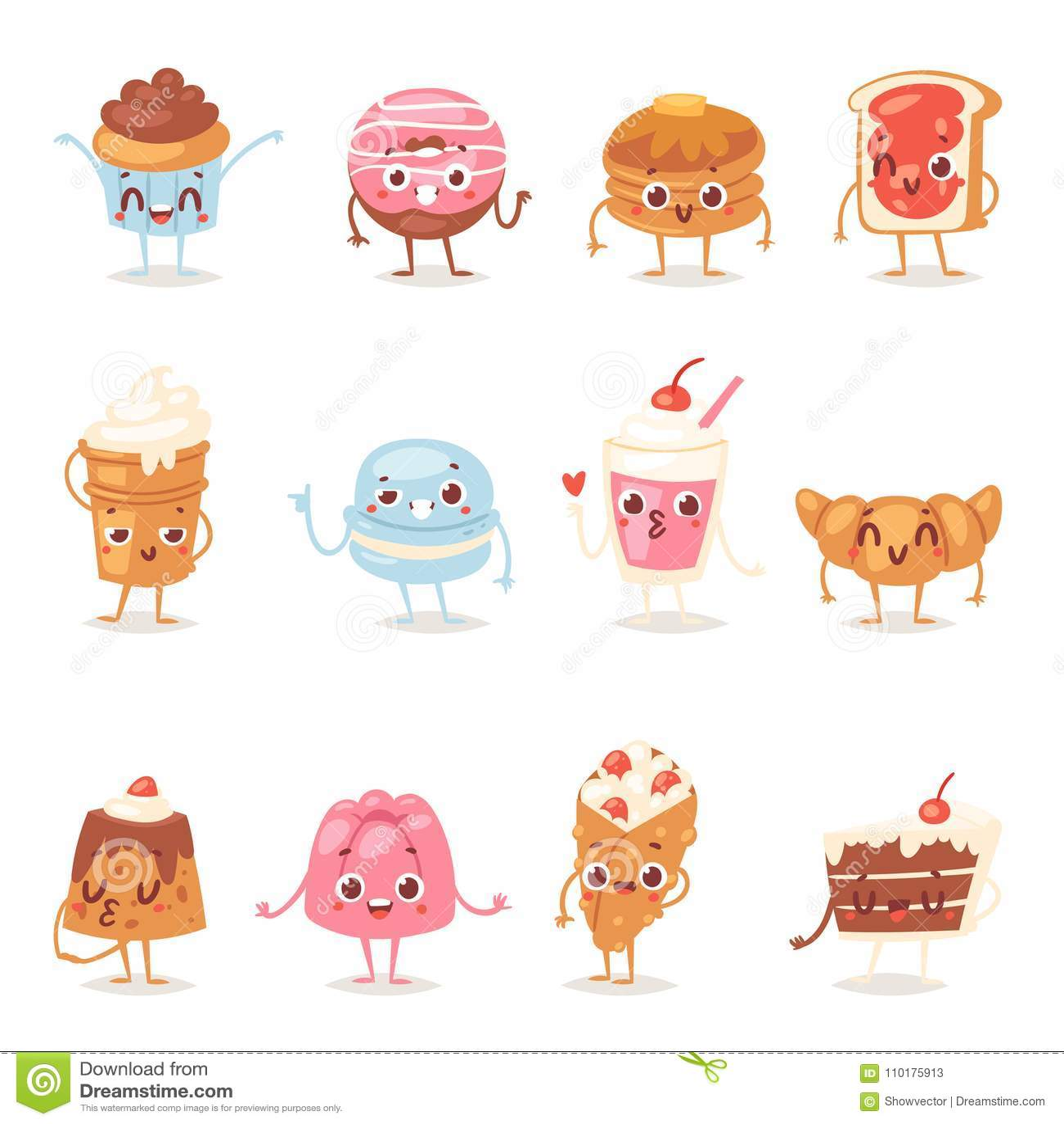 Emozione del bigné della confetteria dei dolci del cioccolato di vettore del carattere del dolce del fumetto e dessert dolce dell