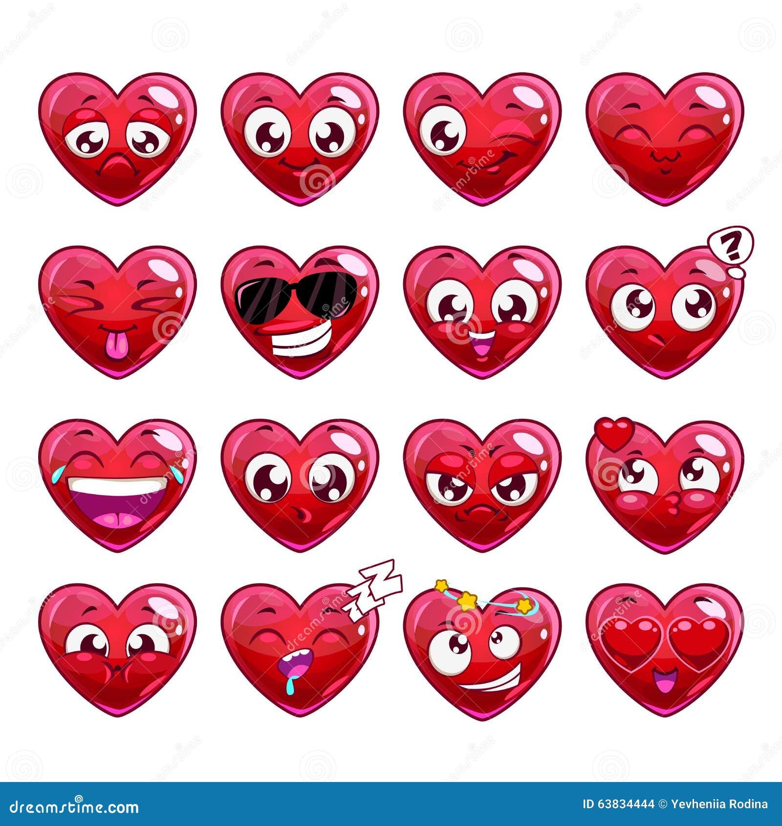 Emozioni divertenti del carattere cuore fumetto