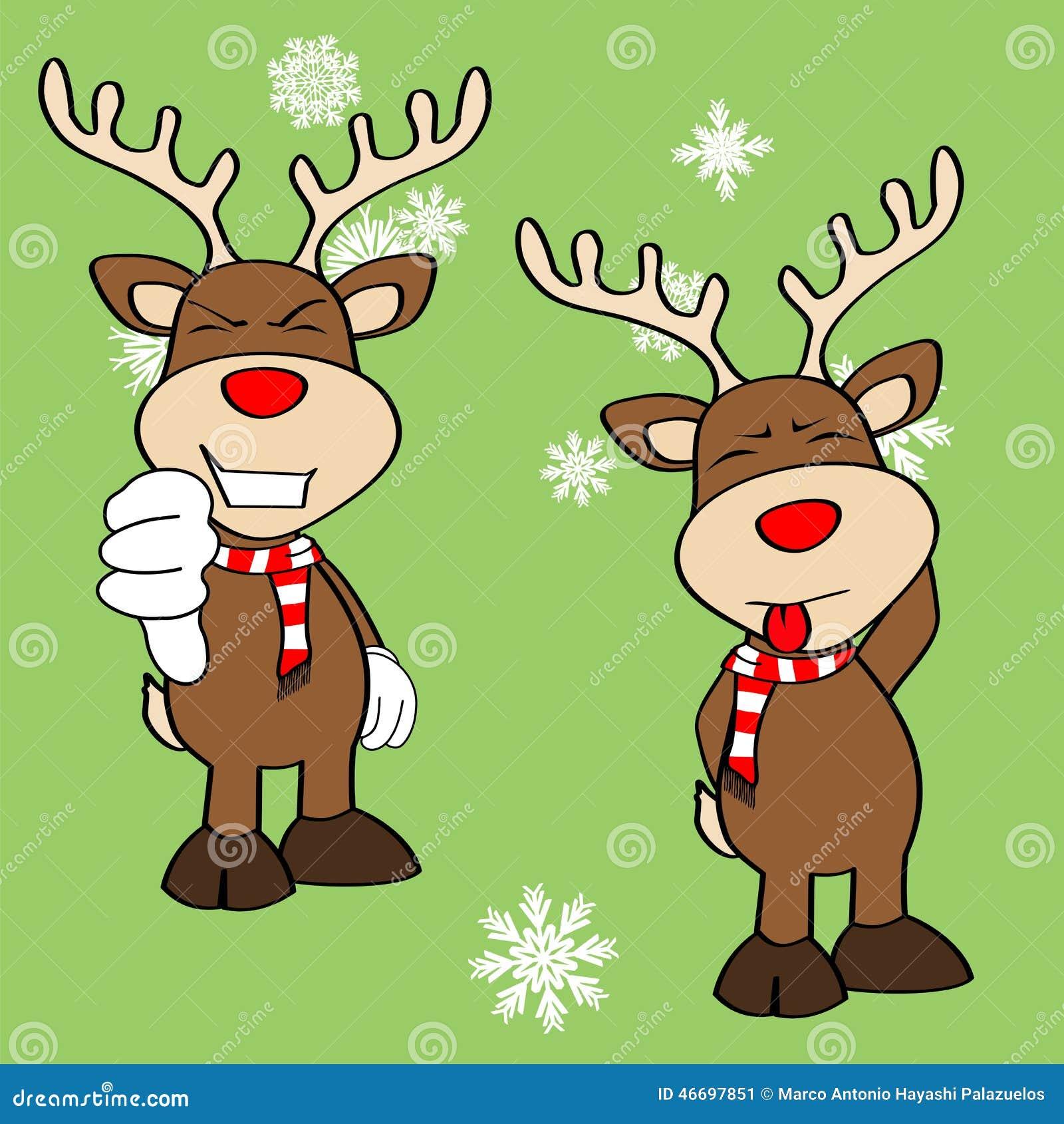 Immagini Natalizie Simpatiche.Emozioni Divertenti Set4 Del Fumetto Di Natale Della Renna Illustrazione Vettoriale Illustrazione Di Festivo Bianco 46697851
