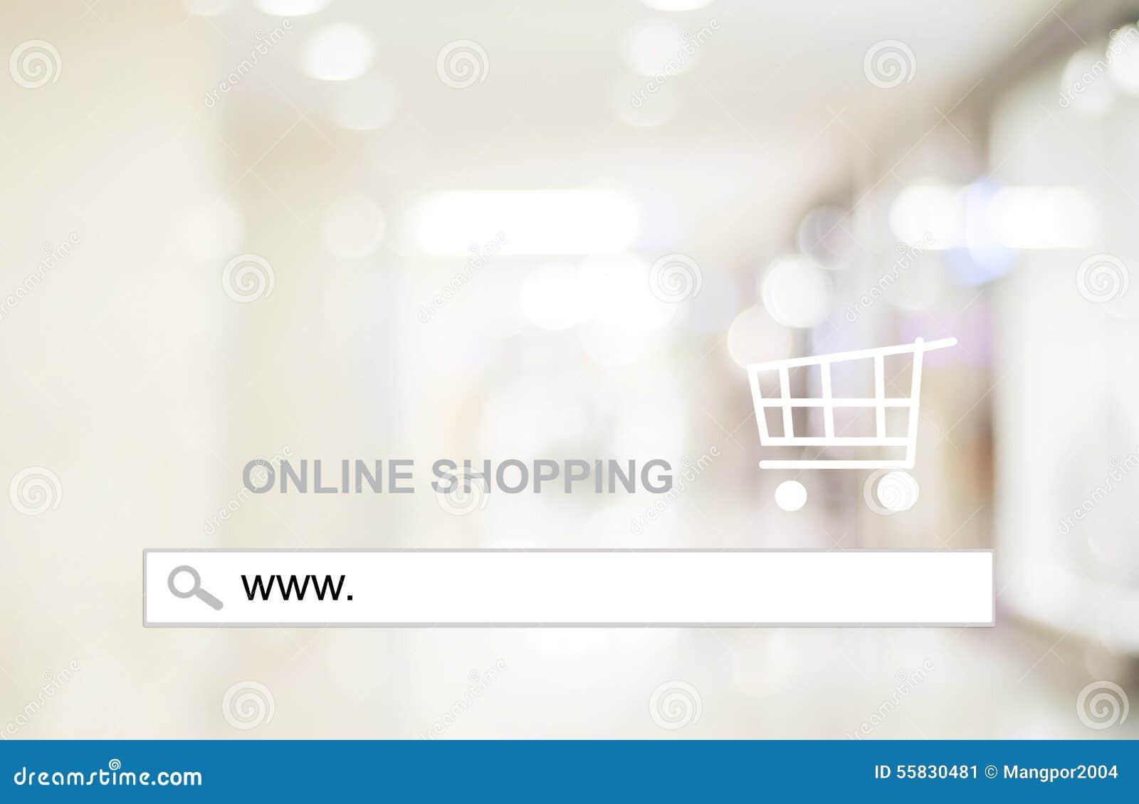 Empañe la luz de la tienda y del bokeh con la barra de la dirección, fondo en línea de las compras