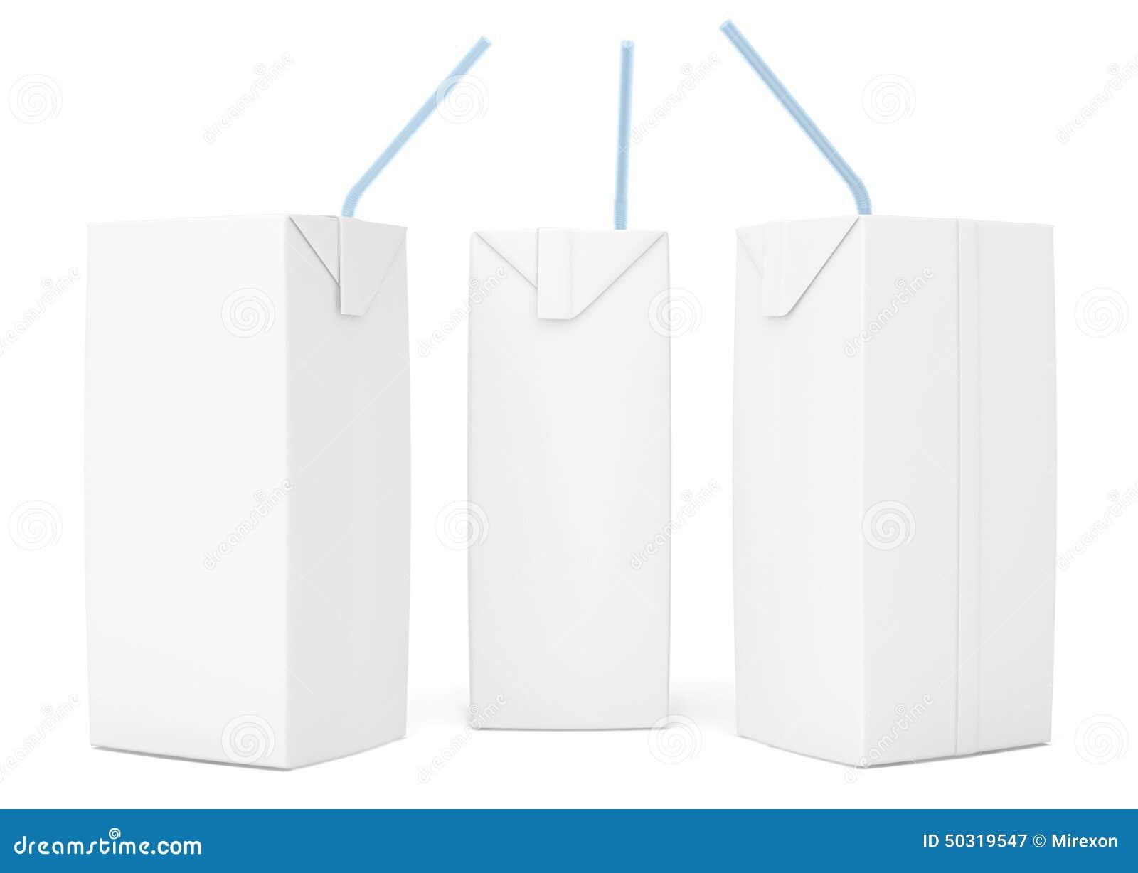 Empacotamento vazio ajustado do suco 3d rendem no branco