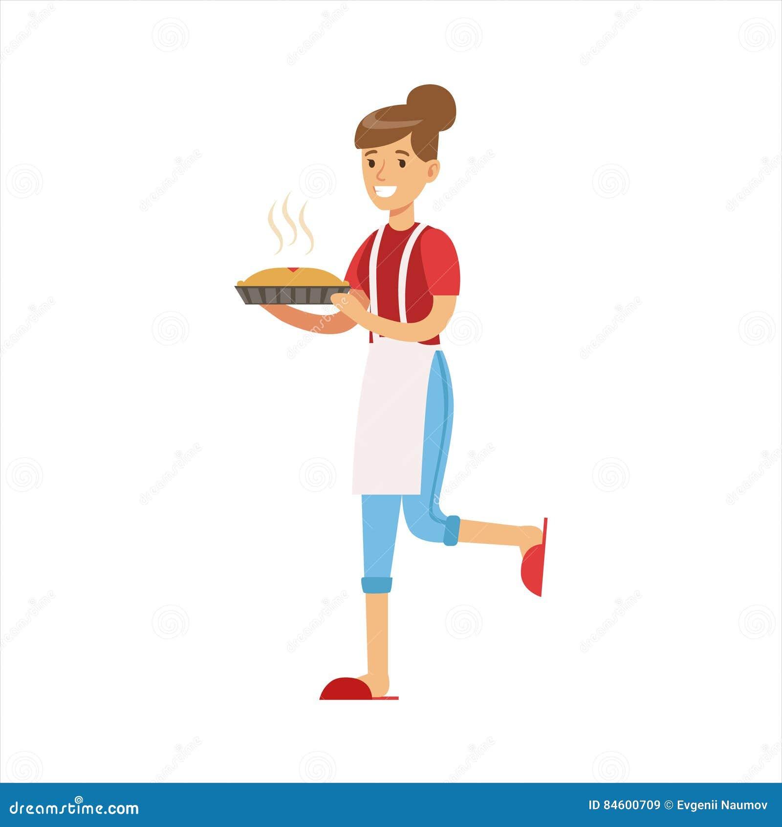 Empanada caliente de Holding Freshly Baked del ama de casa de la mujer, deber clásico del hogar de ejemplo de la esposa del Perma