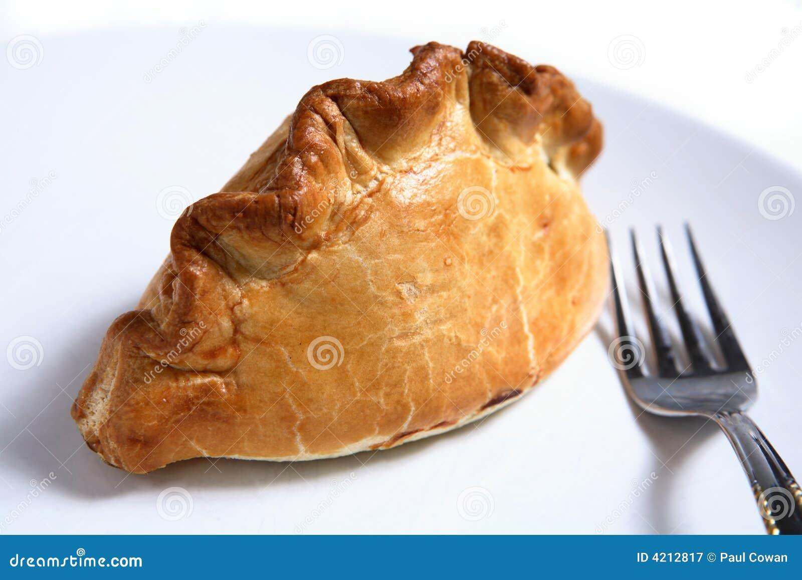 Empanada y fork de carne del pastel de Cornualles