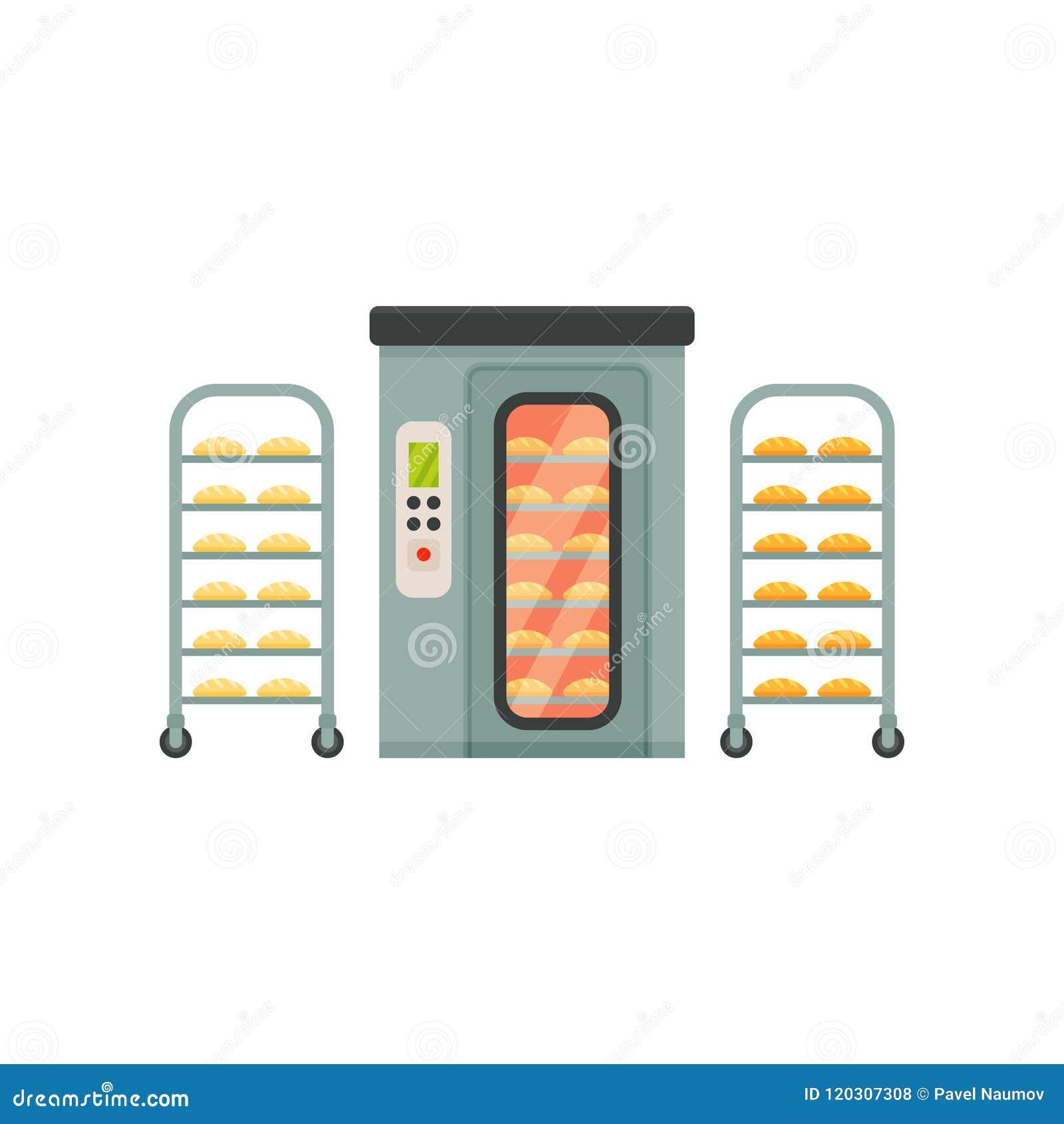 Empane la hornada en el horno, etapa del proceso de producción del pan en un fondo blanco