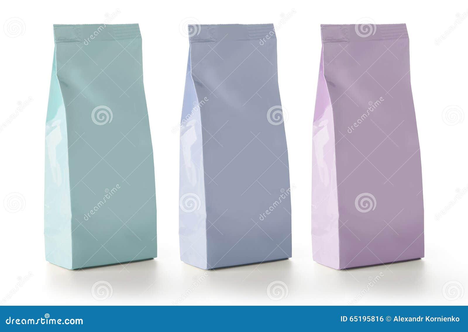 Empaquetado en blanco de los bolsos de la bolsita del bocado de la comida de la hoja