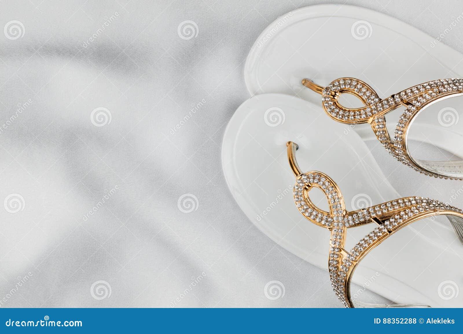 La Los Las Blancas Sandalias Empareje Diamantes De Playa En ikOXuTPZ