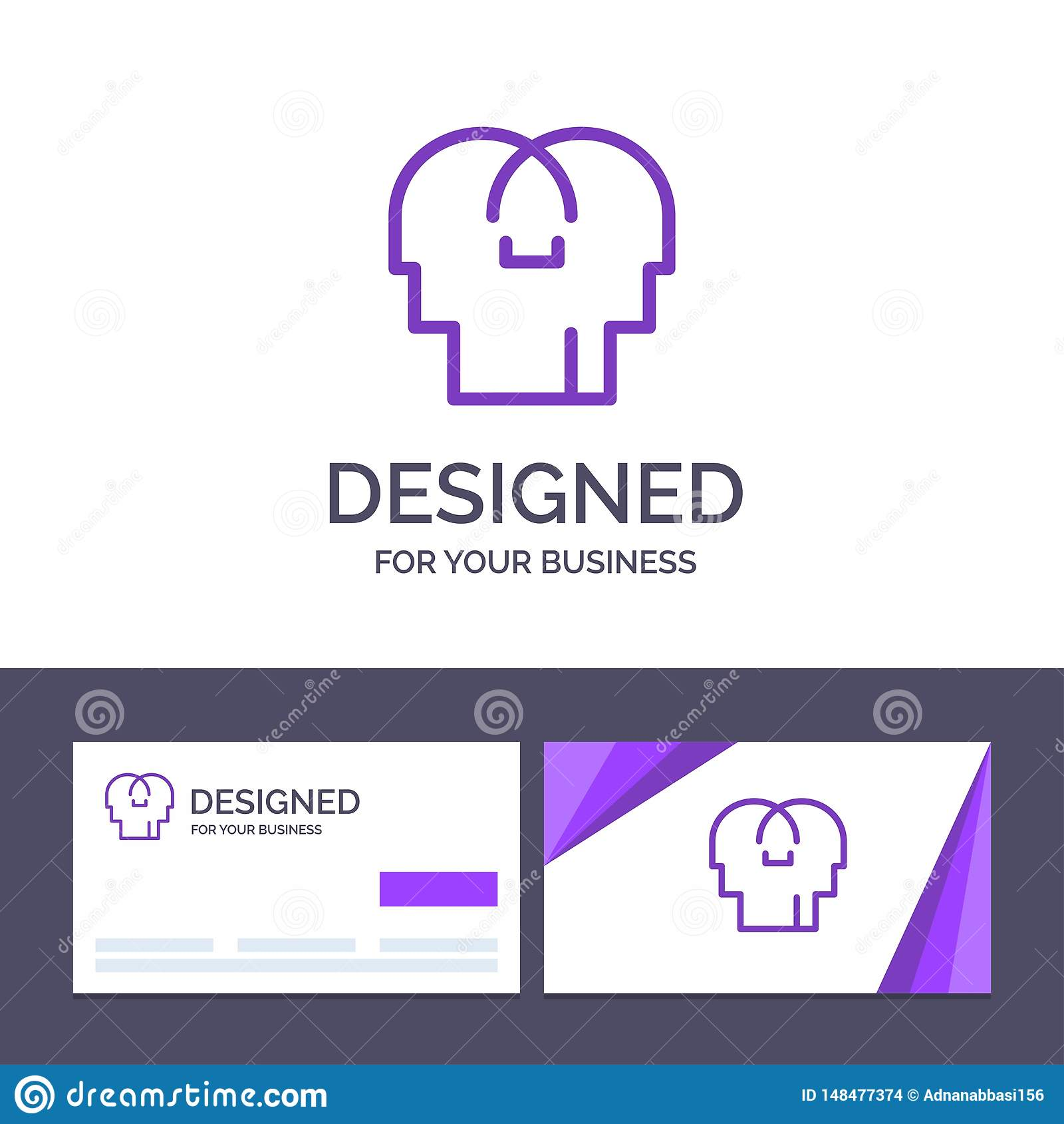 Empathie de visite de calibre créatif de carte de visite professionnelle et de logo, sentiments, esprit, illustration principale
