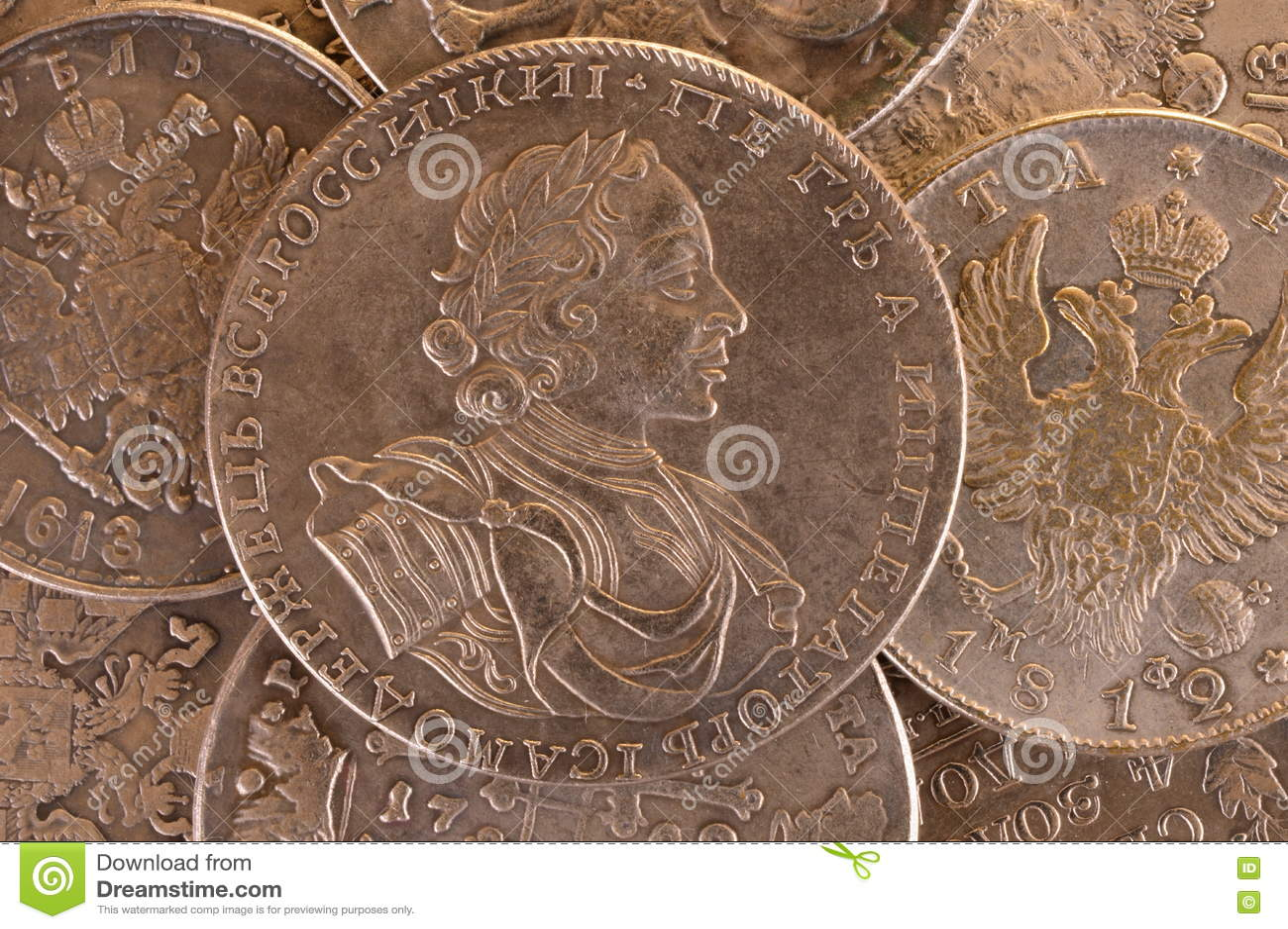 Emperador Peter A del ruso de la moneda 1722 de la rublo de la plata del fondo del vintage Autócrata de toda la Rusia