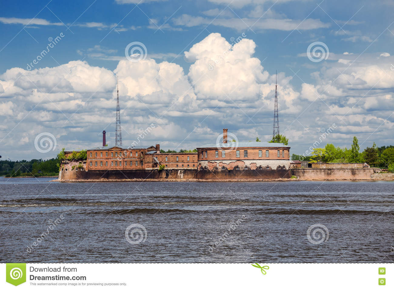 Emperor Peter the firs fort in the Gulf of Finland, Russia
