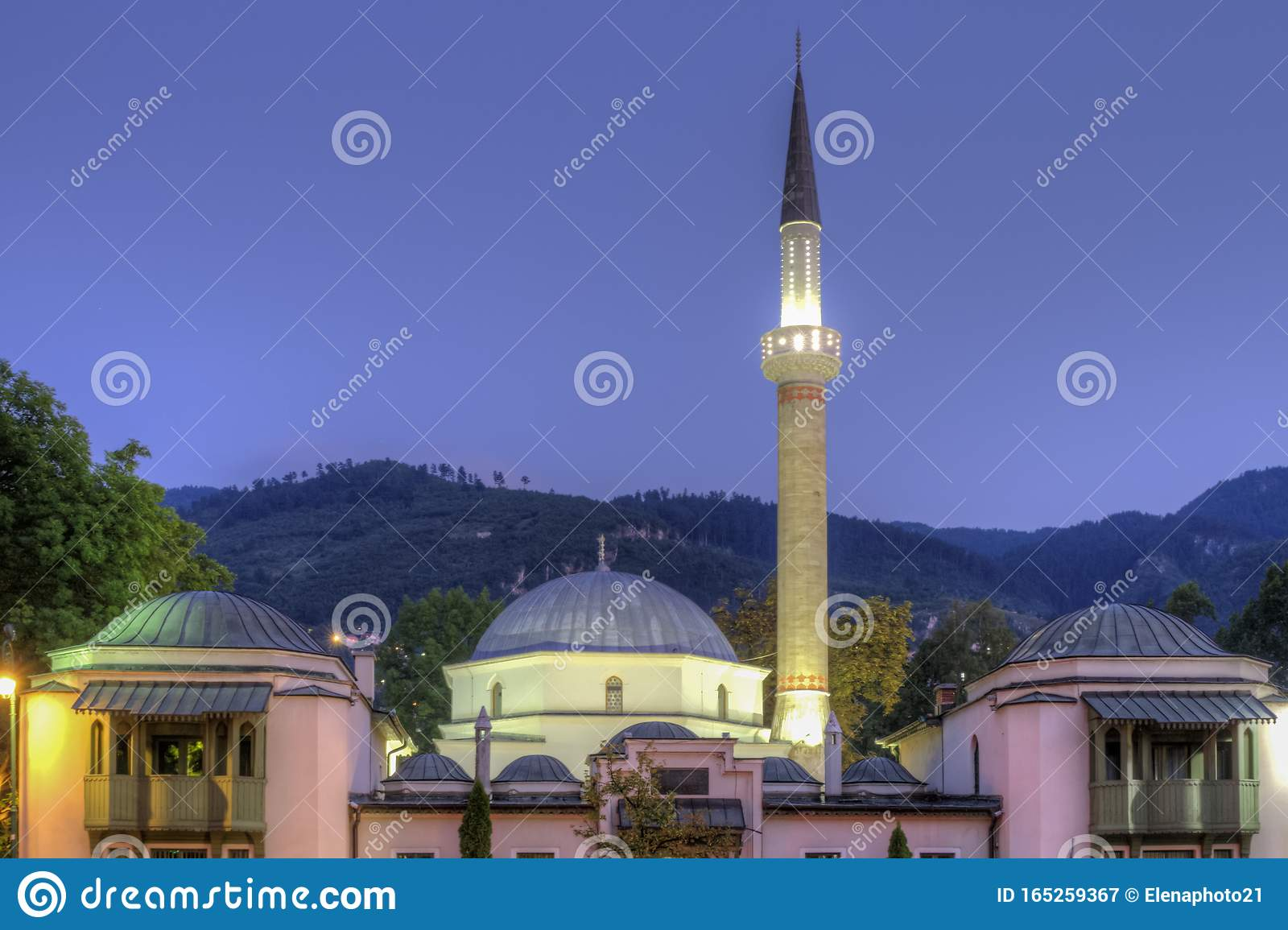 Emperor`s Mosque in Sarajevo on the banks of the Milyacka River, Bosnia and Herzegovina