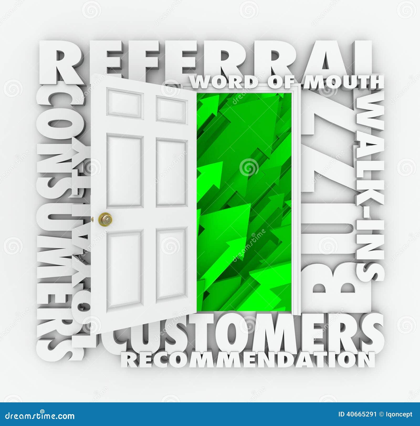 ee0bb00bb19e4 Empfehlungs-Geschäfts-Mundpropaganda-Kunden-Umsatzwachstums-Tür ...