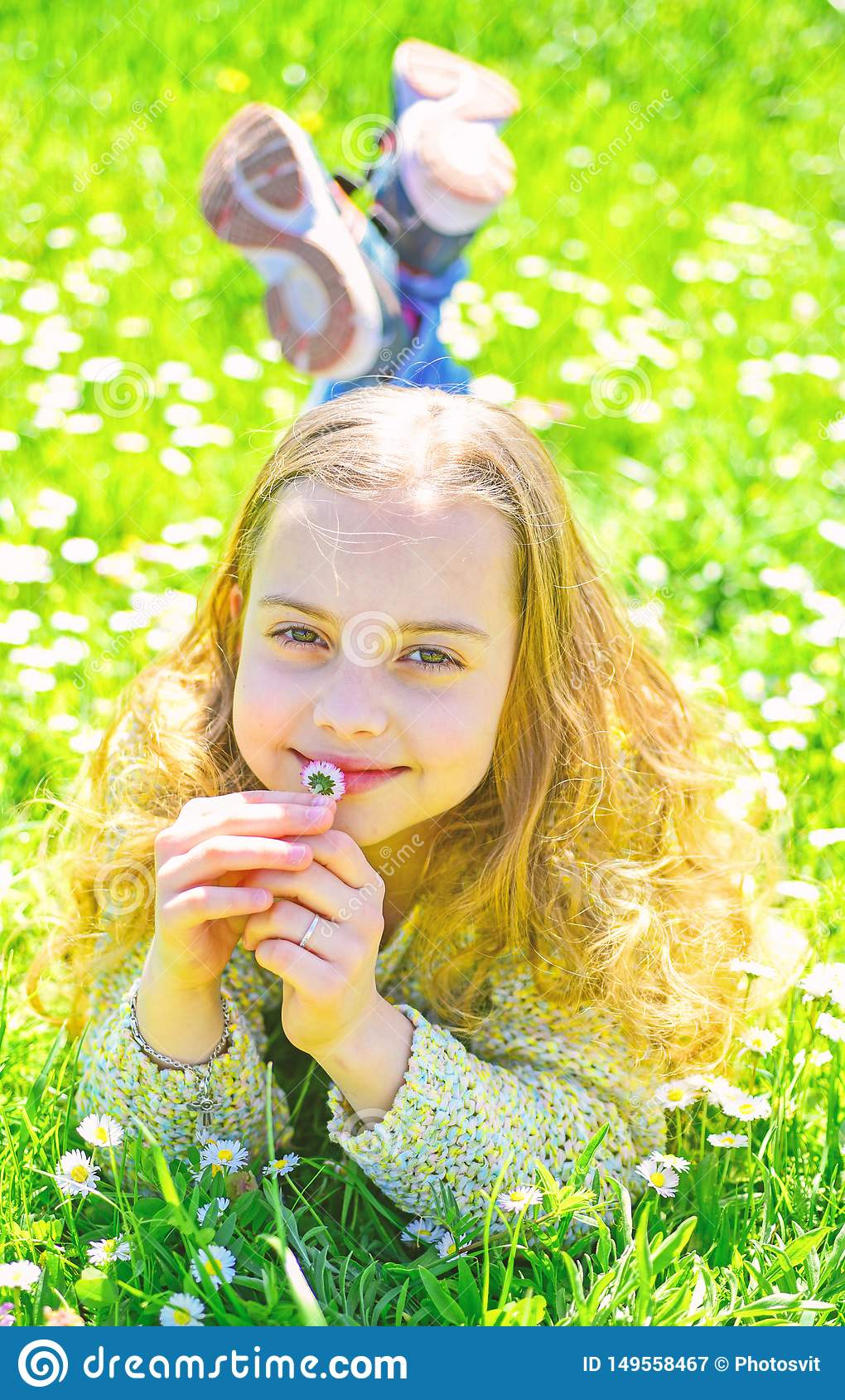 Empfindlichkeitskonzept M?dchen auf l?chelndem Gesicht h?lt G?nsebl?mchenblume, schn?ffelt Aroma M?dchen, das auf Gras, grassplot