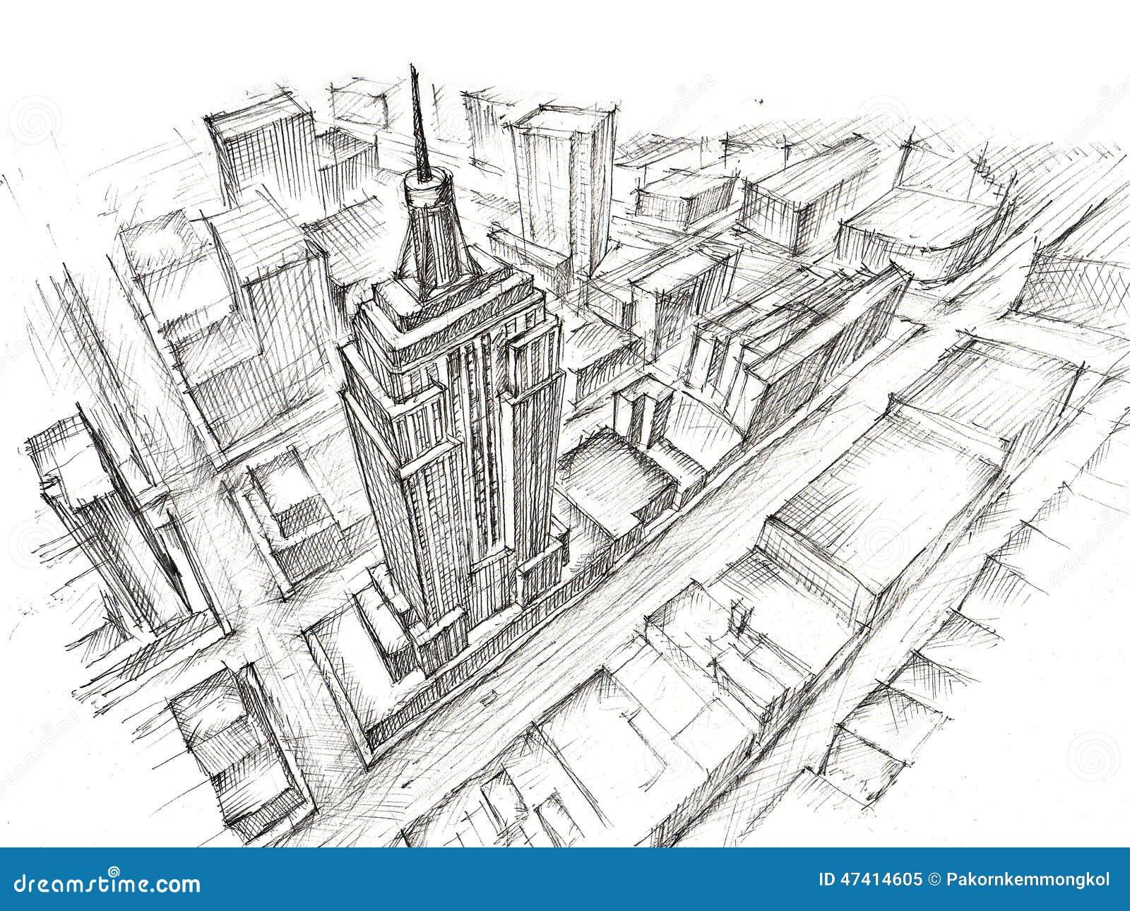 Empire state building bleistift zeichnung stock abbildung for Architektur studieren