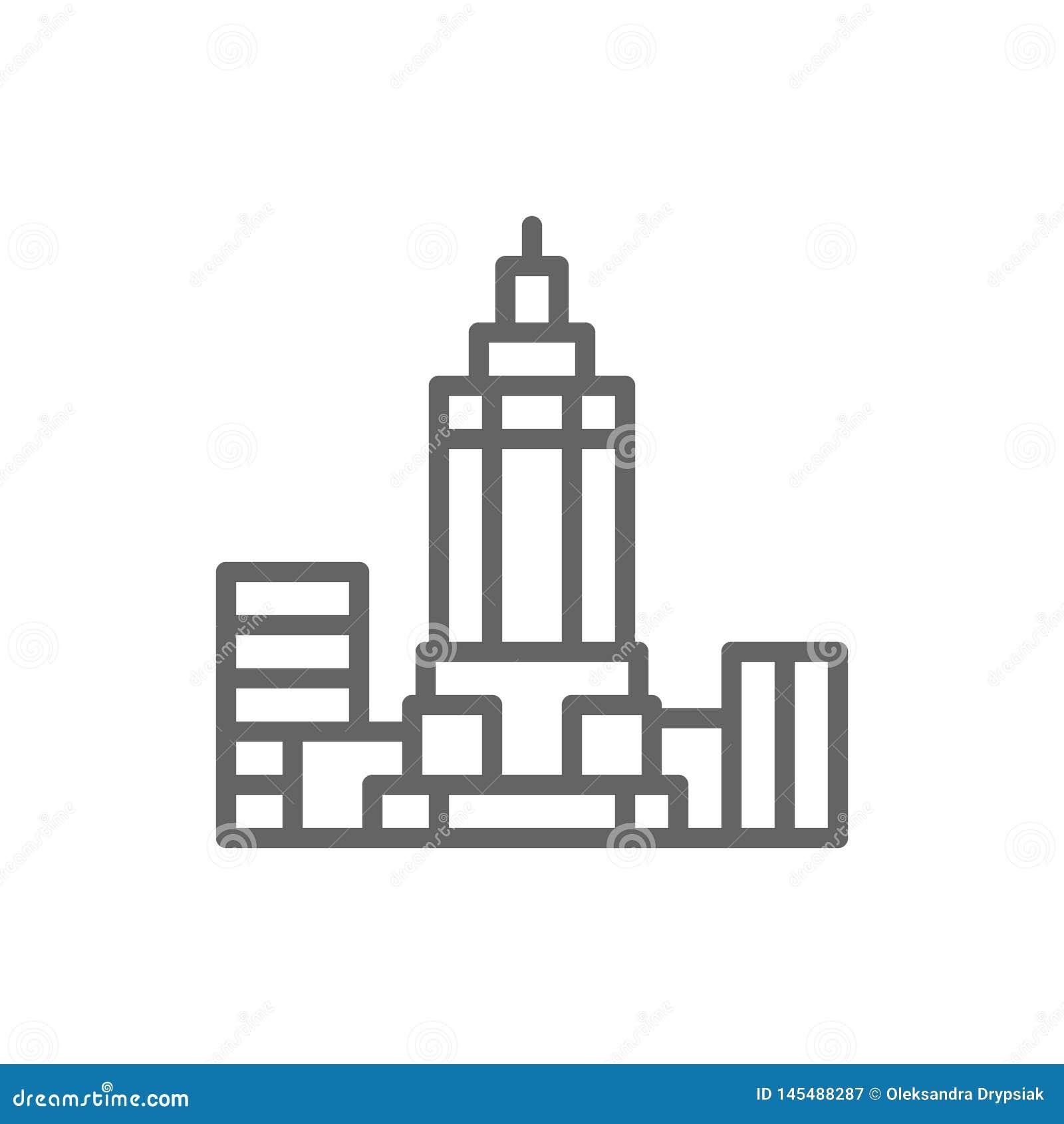 Empire State Building, los E.E.U.U., l?nea icono de la se?al