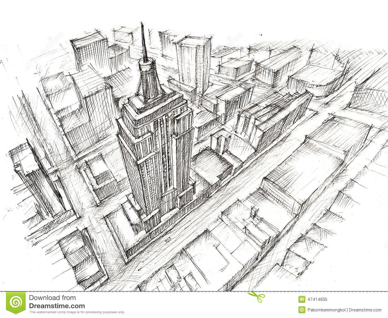 Empire State Building Pencil Drawing Stock Illustration ...