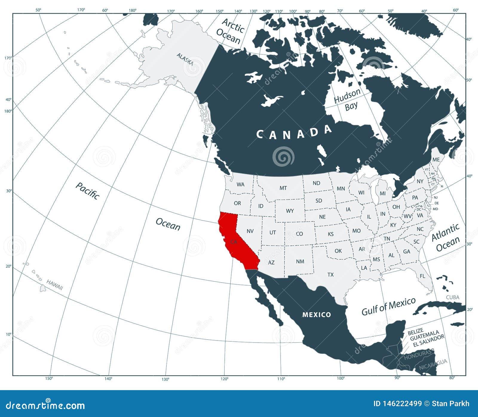 Emplacement D Etat De La Californie Sur La Carte De L Amerique Du Nord Et Emplacement Des Etats Unis Sur La Carte De L Amerique D Illustration De Vecteur Illustration Du Etat Unis 146222499