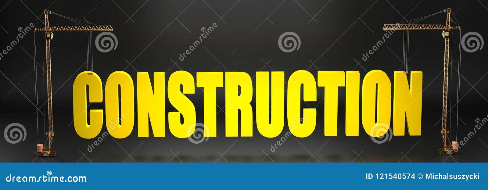 Emplazamiento de la obra simbolizado como grúas que llevan a cabo un logotipo grande de la construcción