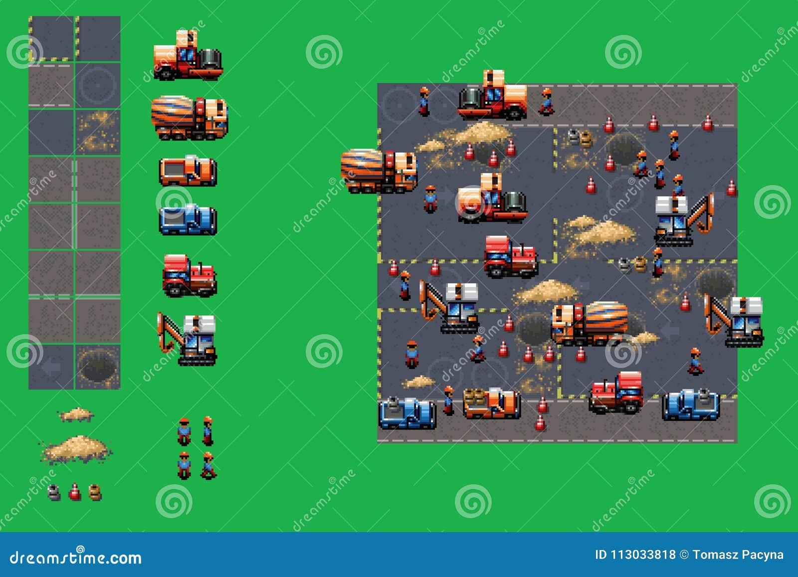 Emplazamiento de la obra - sistema del vector de los elementos del juego del estilo del arte del pixel