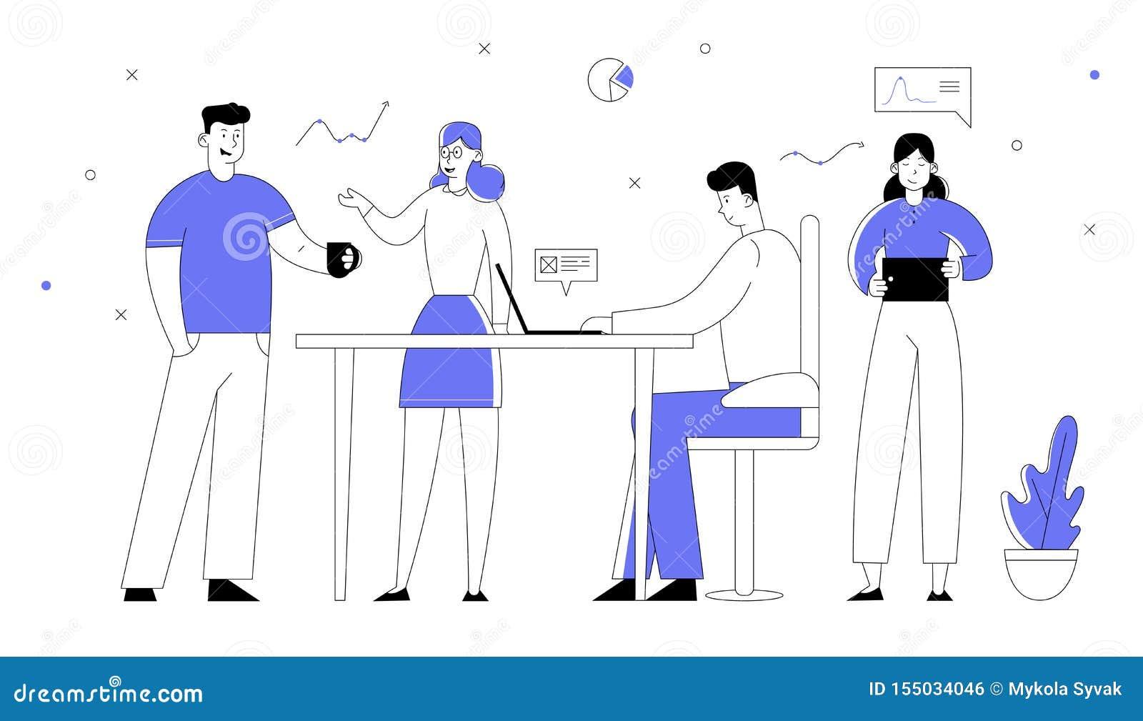 Empleados de oficina que trabajan proceso Hombres de negocios y encargados Team Developing Creative Project de las empresarias