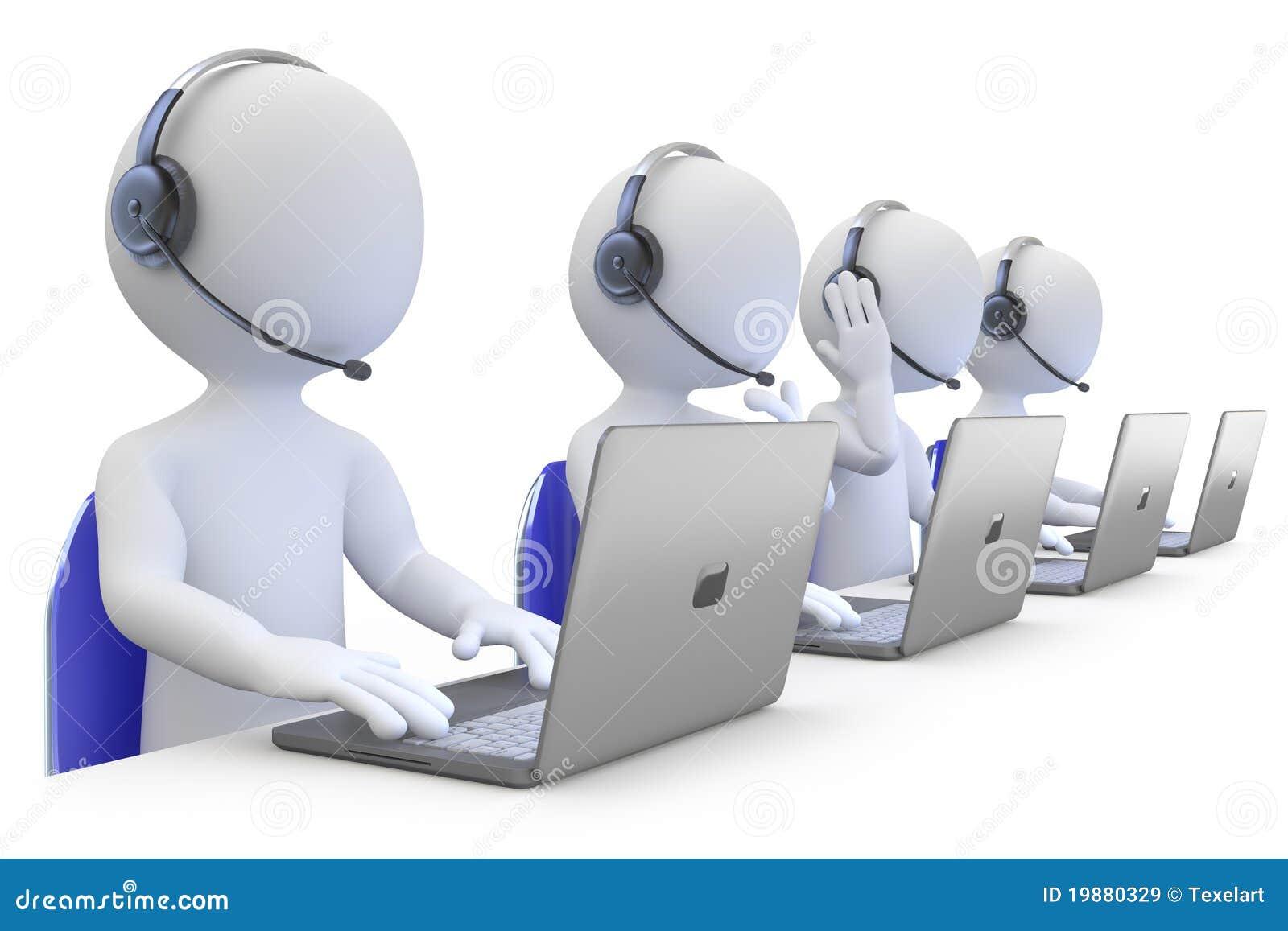 Empleados que trabajan en un centro de atención telefónica