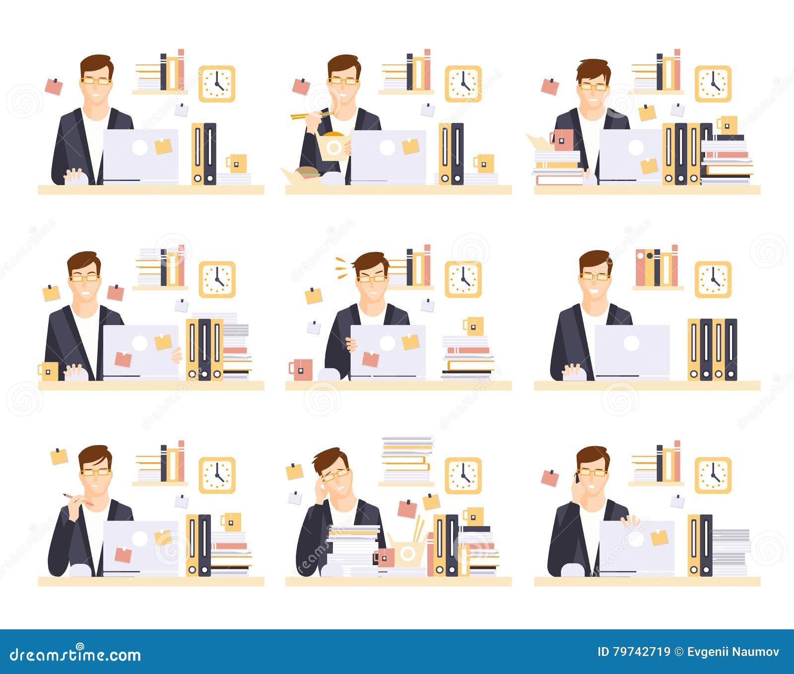 Employé de bureau de sexe masculin dans son espace d exécution de compartiment des illustrations