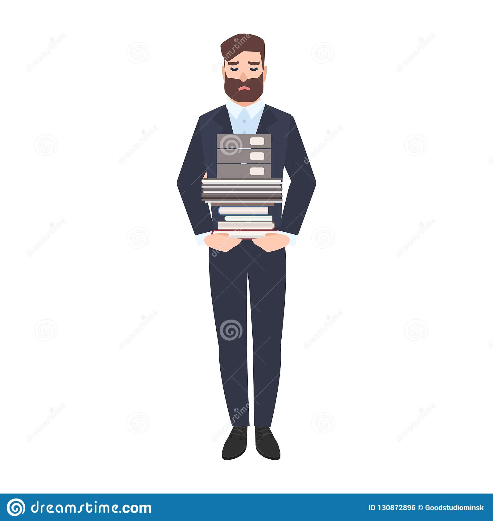 Employé de bureau de sexe masculin triste ou pile de transport de commis de documents sur papier Directeur malheureux fatigué sur