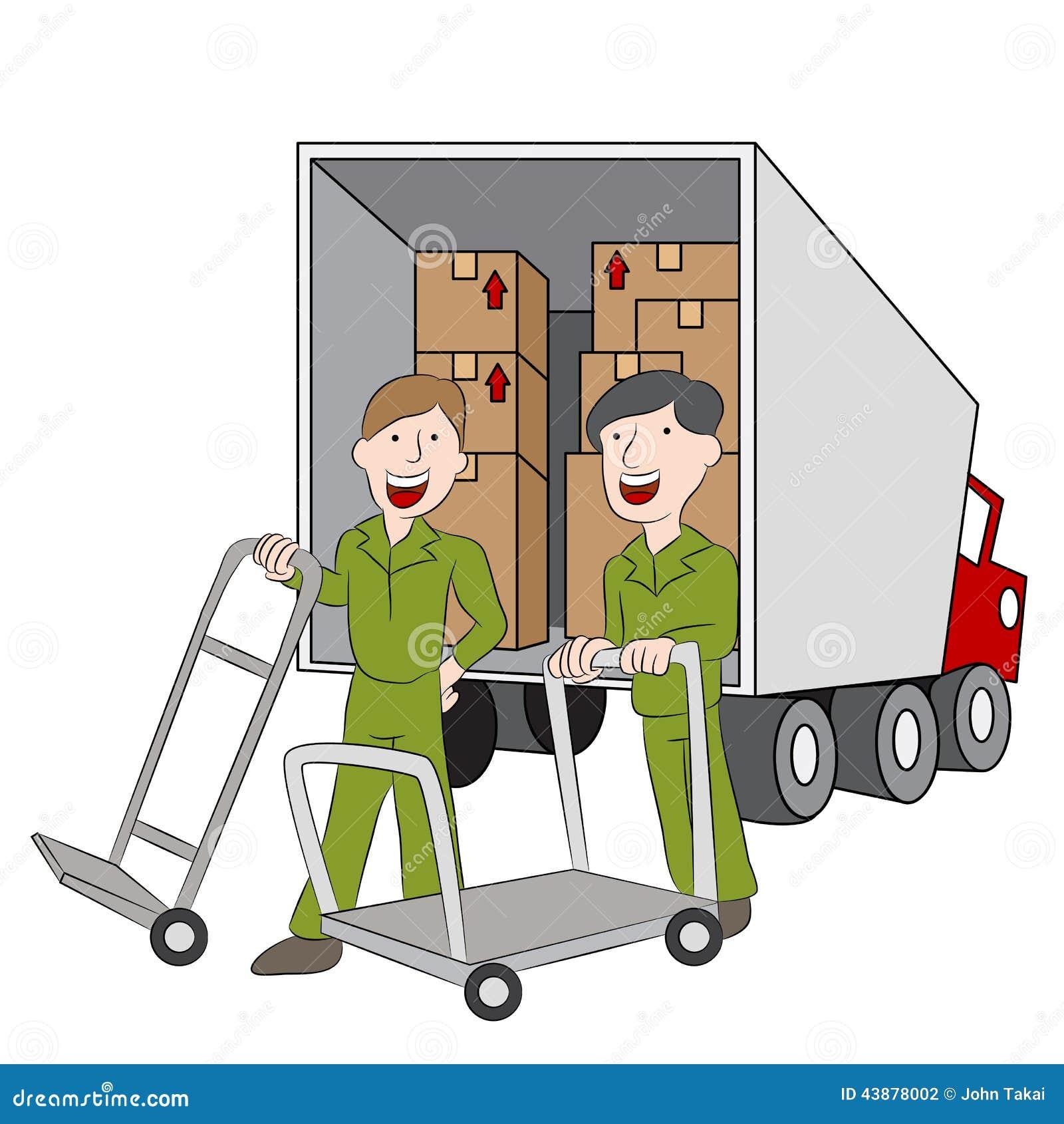 employ s et camion d 39 entreprise de d m nagement illustration de vecteur image 43878002. Black Bedroom Furniture Sets. Home Design Ideas