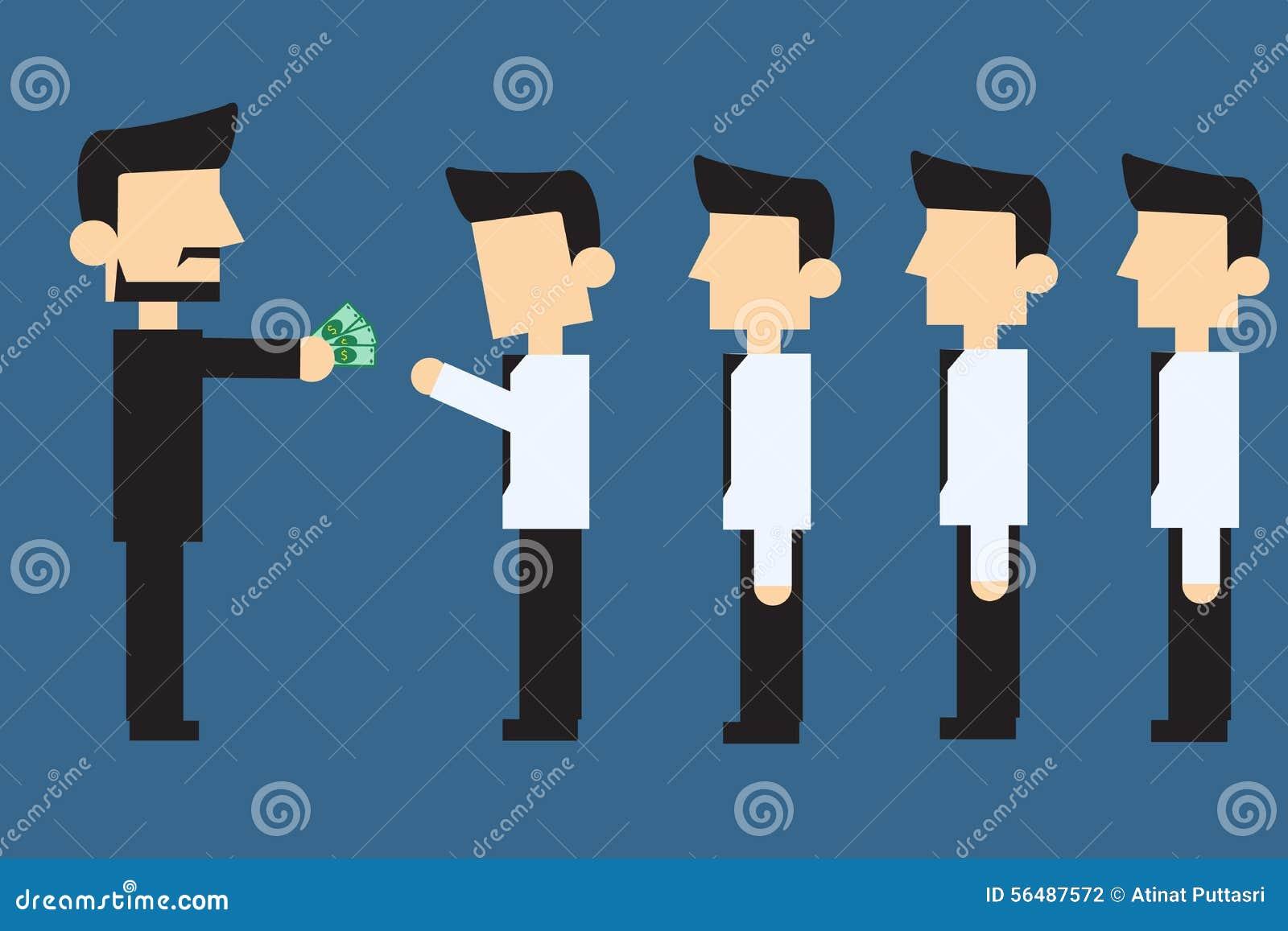 Employés recevant le salaire mensuel