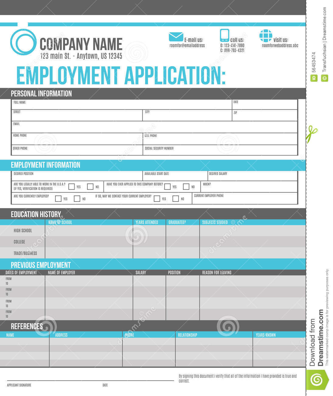 employee application template stock vector illustration of