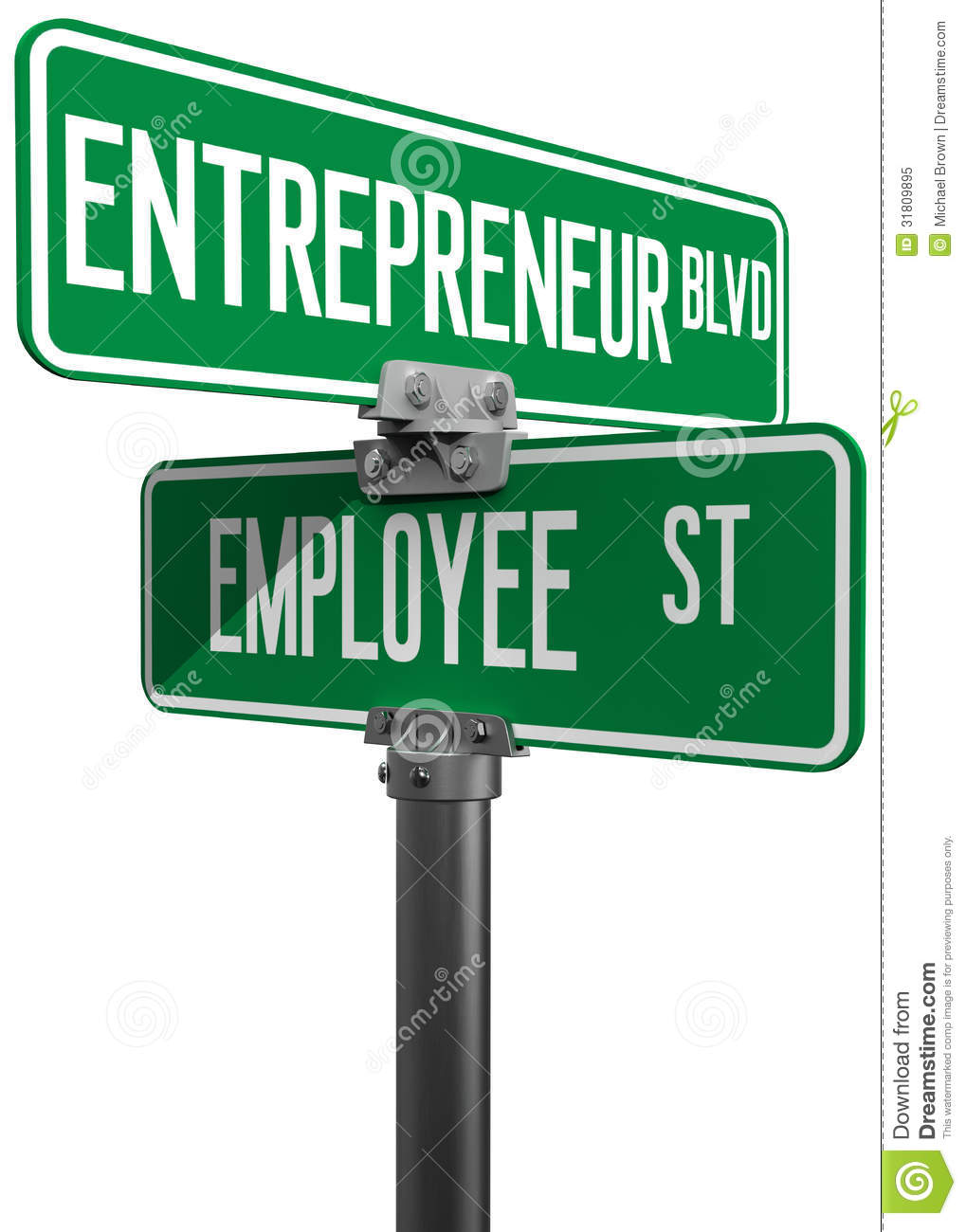 employee entrepreneur business decision sign royalty stock employee entrepreneur business decision sign